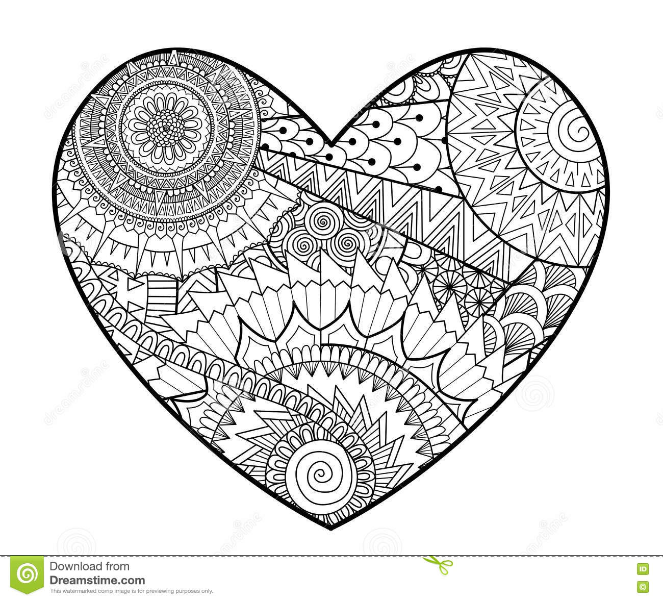 heart shape coloring pages - zendoodle in heart shape for coloring books for adult