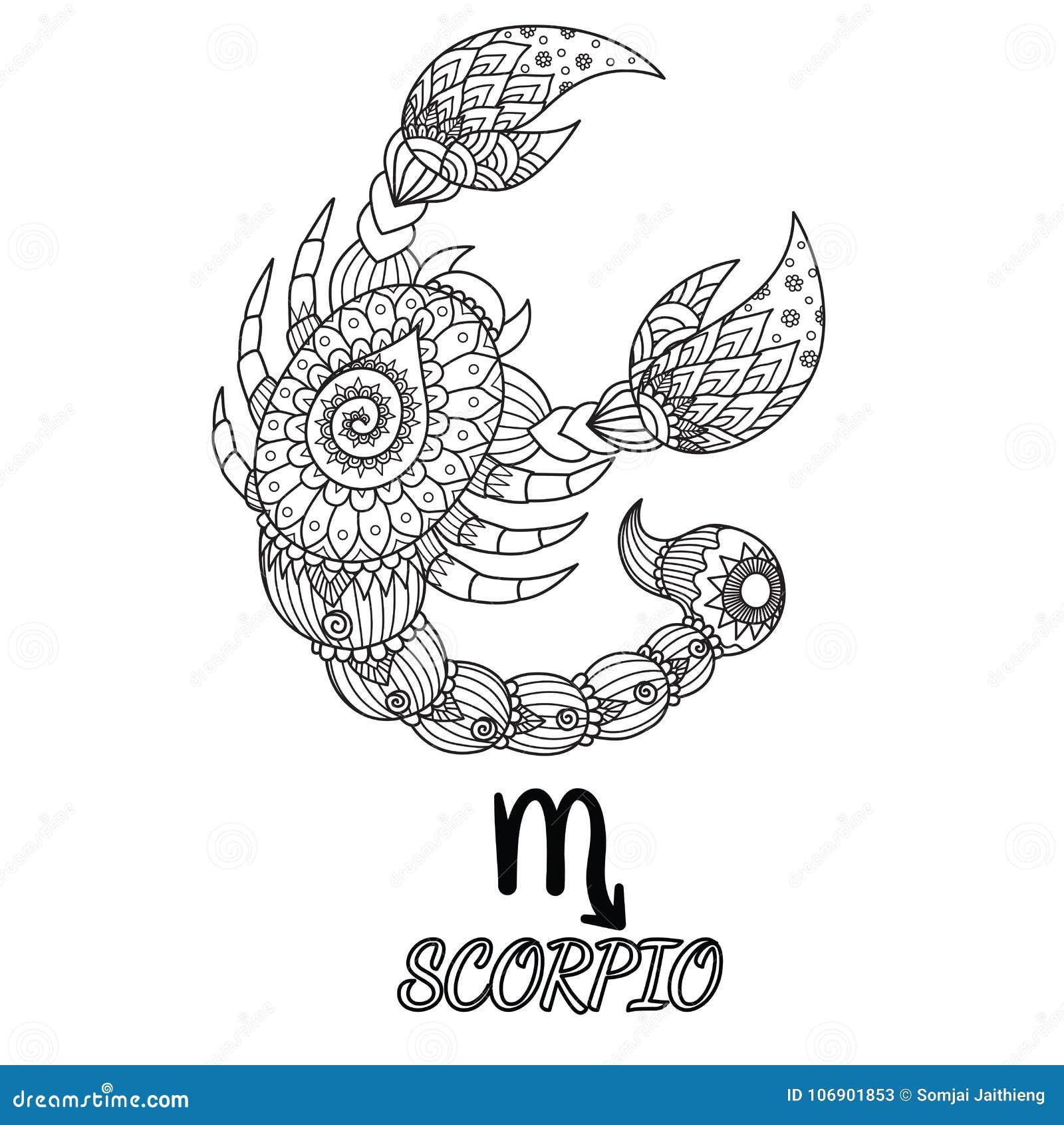 Zendoodle projekt Scorpio zodiaka znak dla projekta elementu i dorosły kolorystyki książki strony Akcyjny wektor