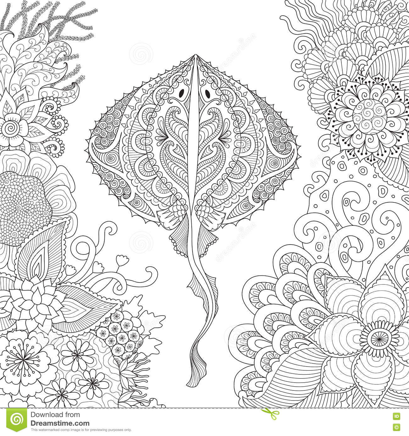 Royalty Free Vector Download Zendoodle Of Stingray Swimming Among Beautiful Corals Under Water World For Adult Coloring Book Pages