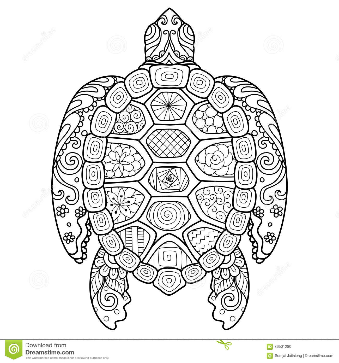 Shirt design book - Zendoodle Stylized Of Beautiful Turtle For Tattoo T Shirt Design And Coloring Book For