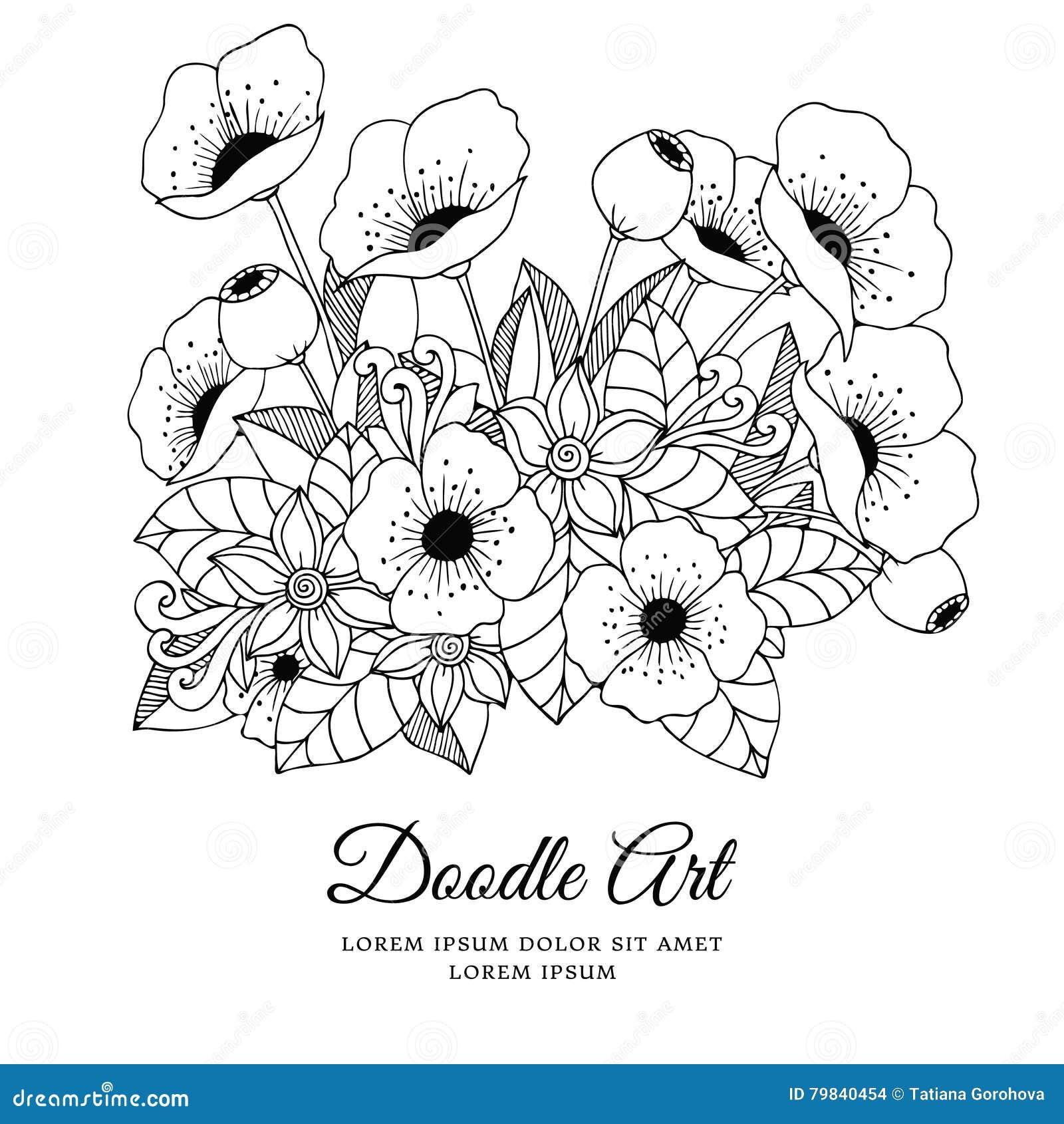 Zentangl иллюстрации вектора цветет маки Чертеж Doodle ...