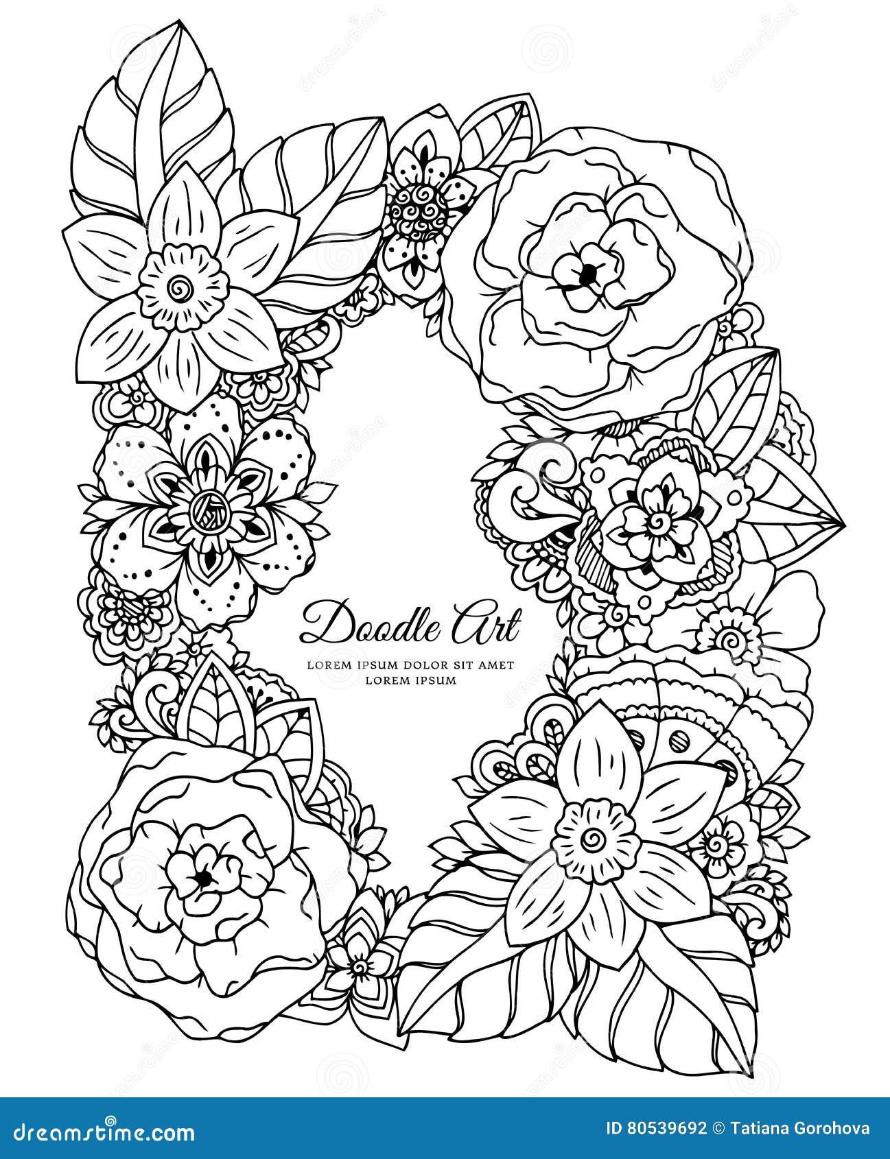Zentangl Del Ejemplo Del Vector, Marco Floral Dibujo Del Garabato ...