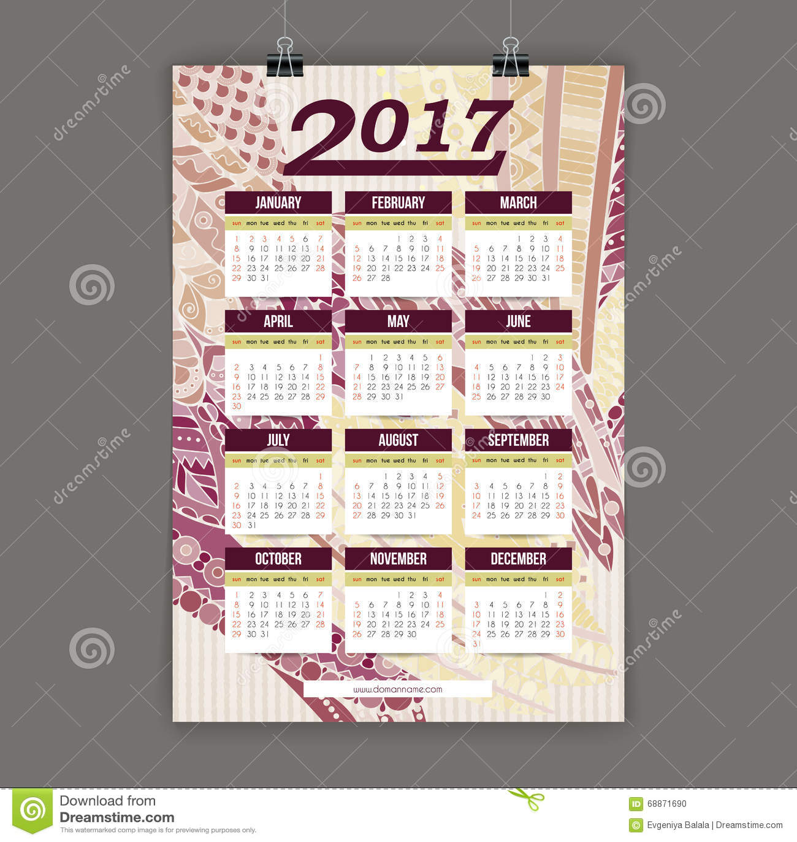 zentangle五颜六色的日历2017手画仿照花卉样式和图片