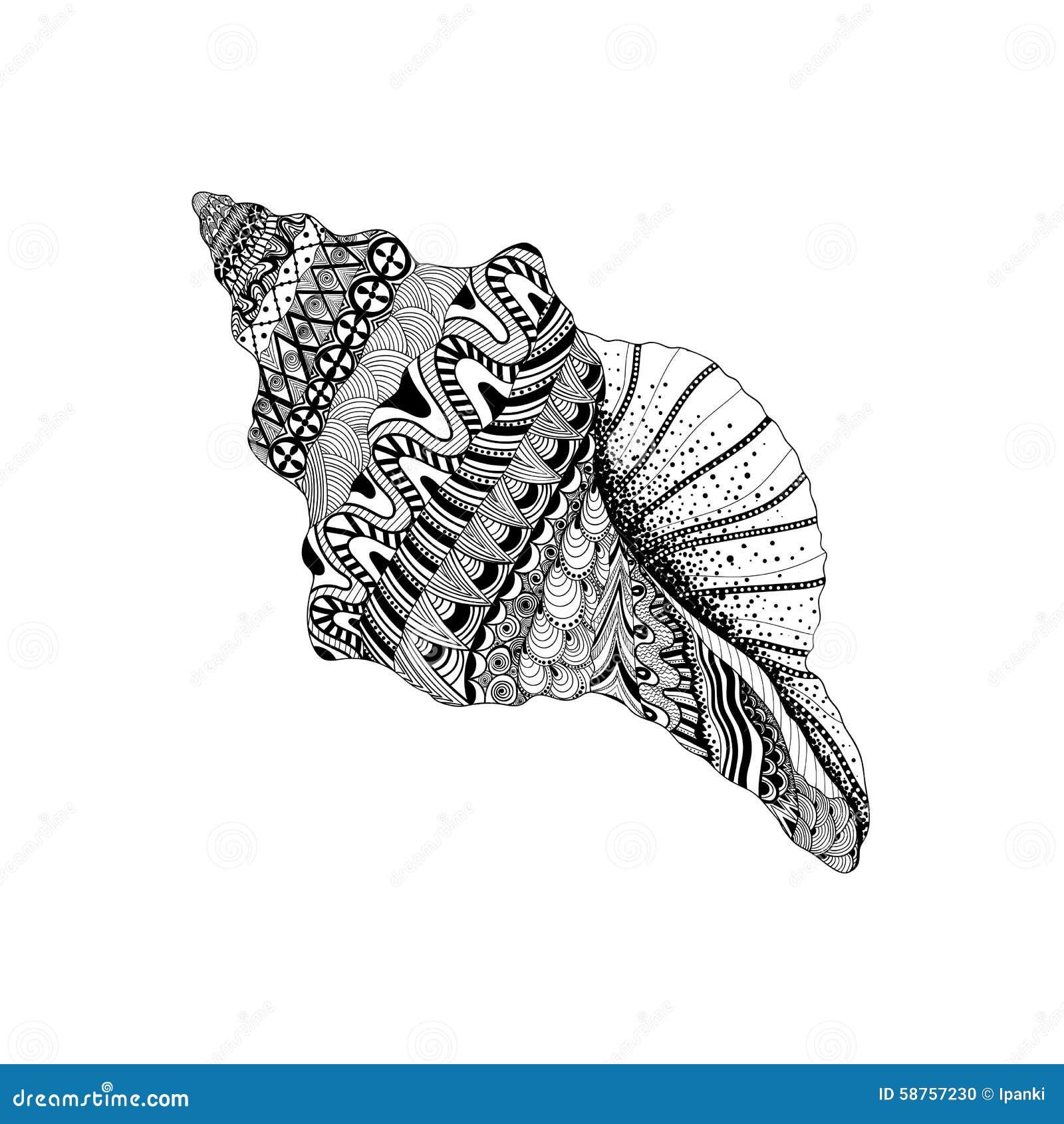 Zentangle传统化了黑海海扇壳 手拉的水生doo