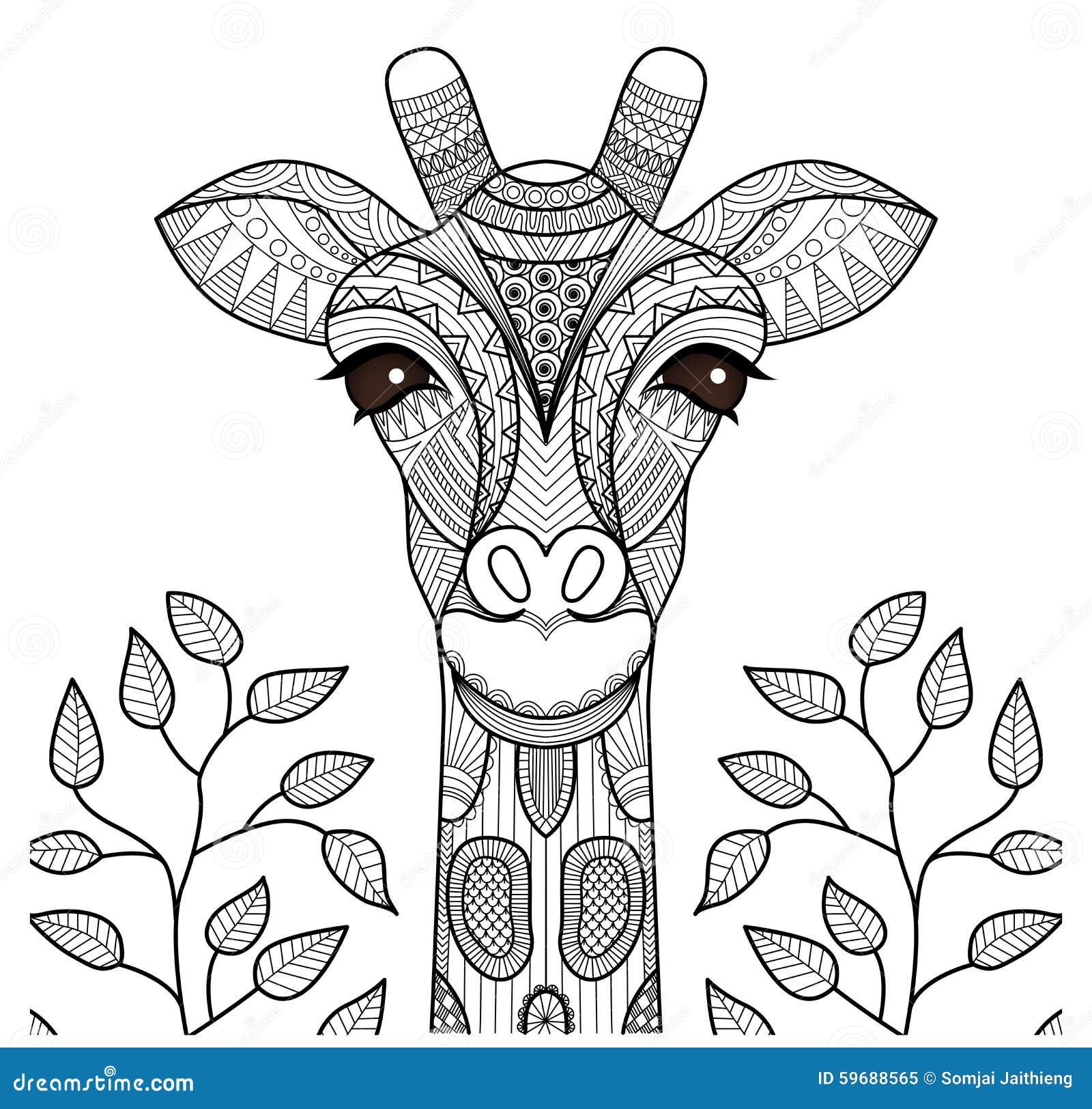 Zentangle żyrafy głowa