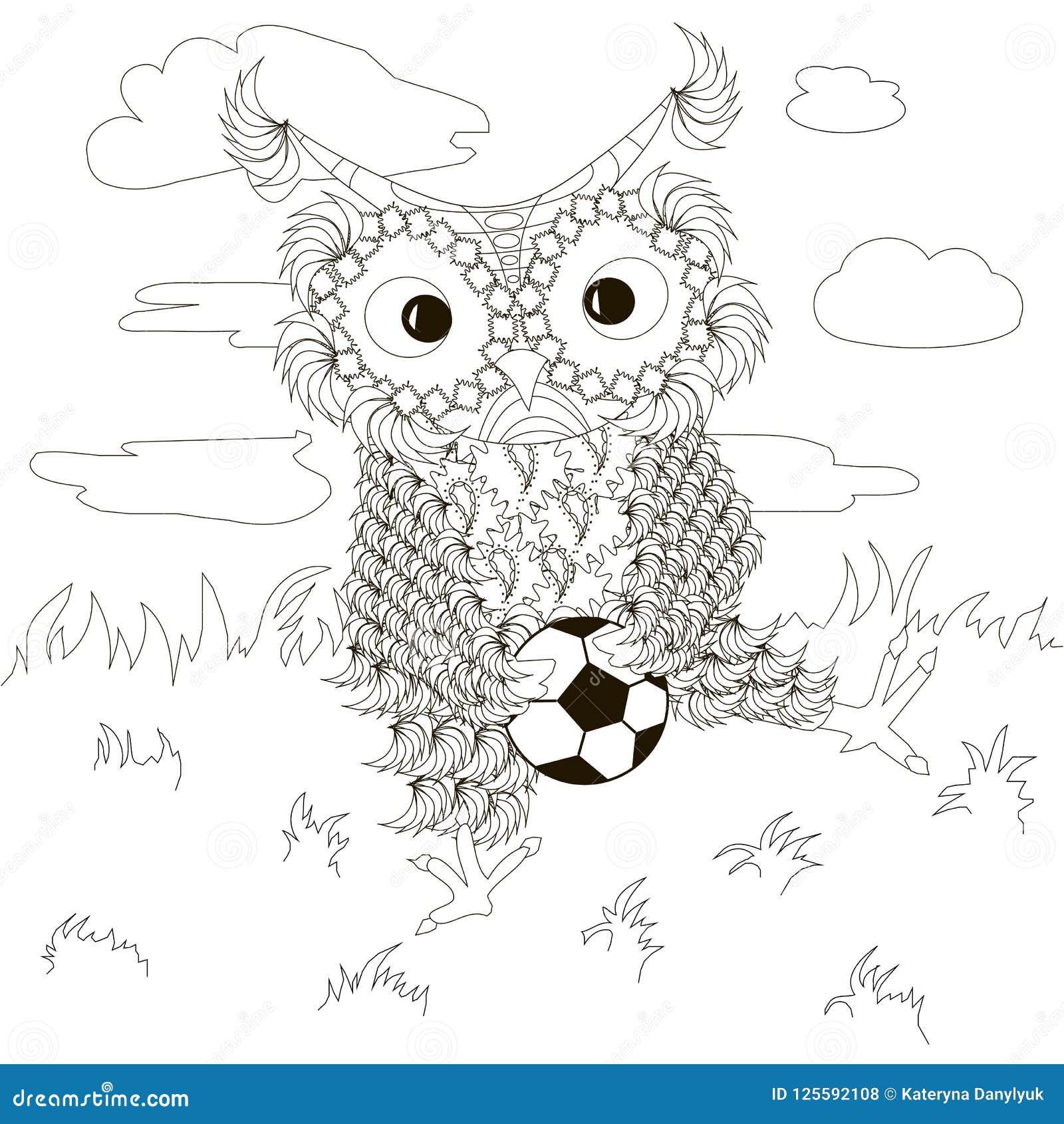 Zentangle, τυποποιημένες γραπτές κουκουβάγιες που κάθεται με το ποδόσφαιρο στο χορτοτάπητα, σύννεφα, σχέδιο χεριών