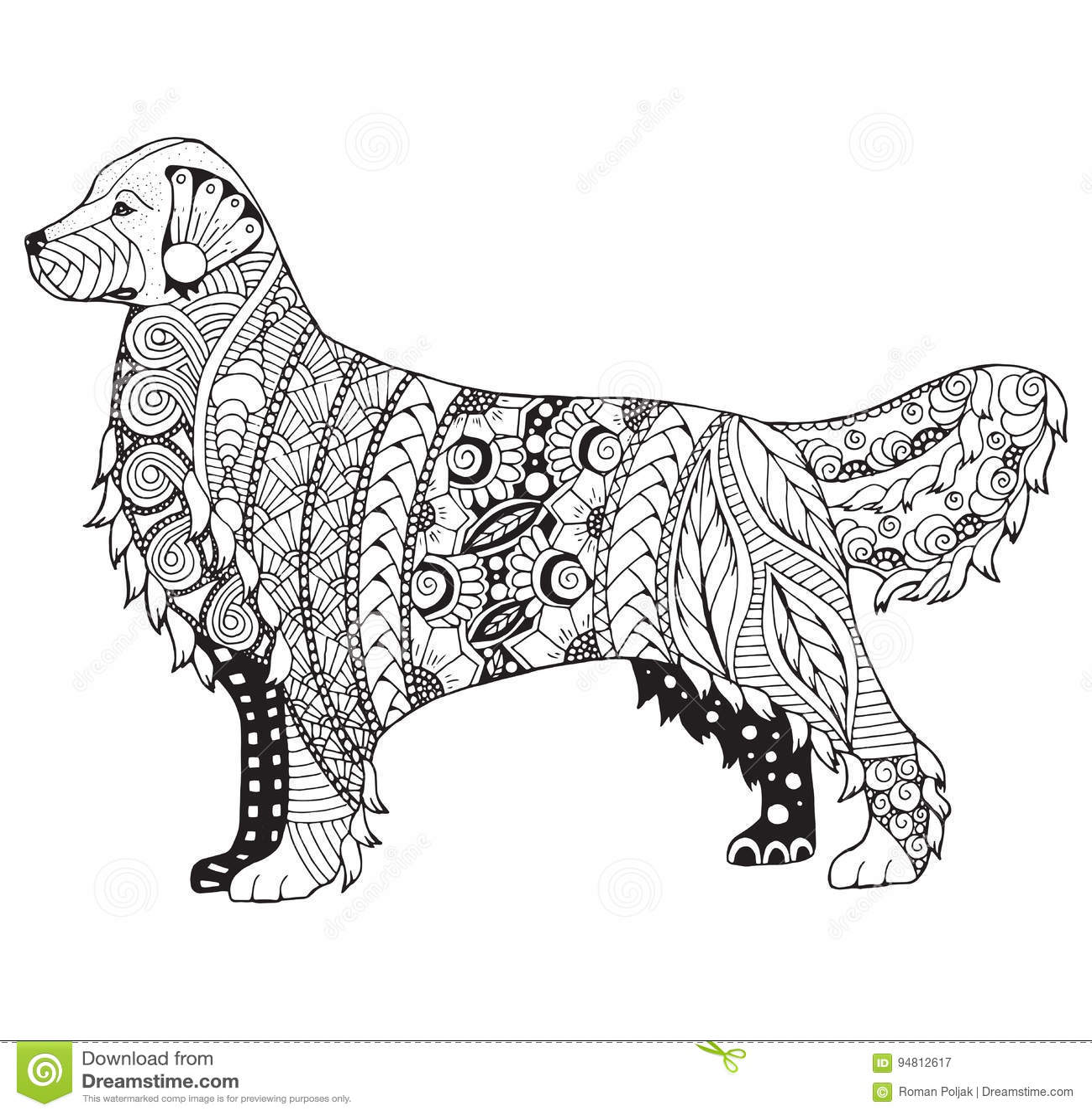 zentangle стилизованное вектор собаки золотого retriever