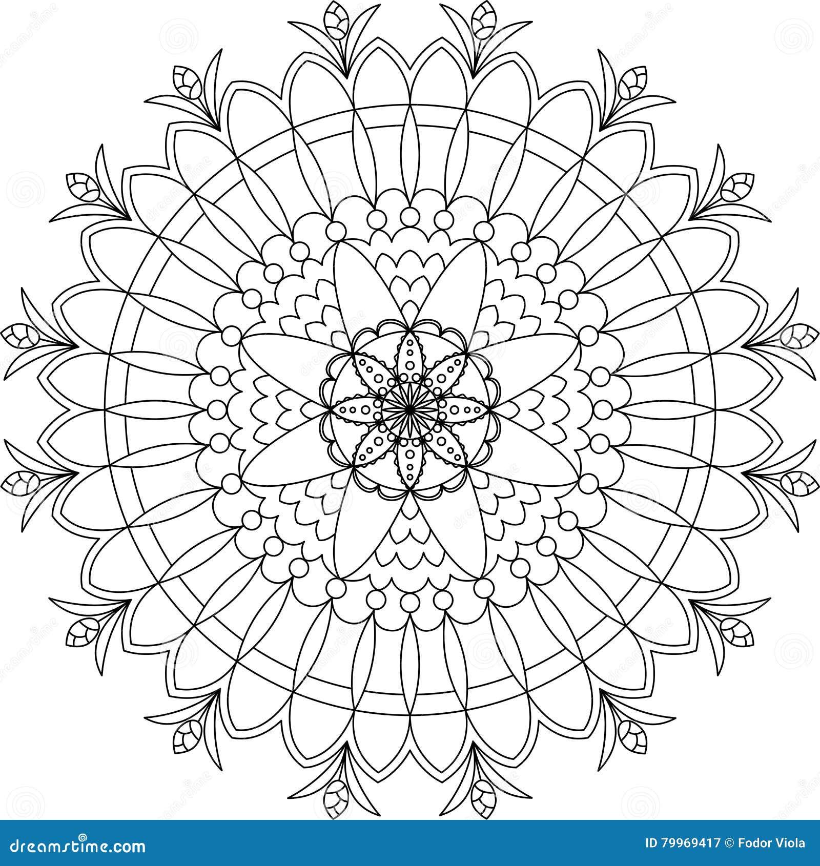 Zentangle Adult Coloring Page Mandala Stock Vector Illustration