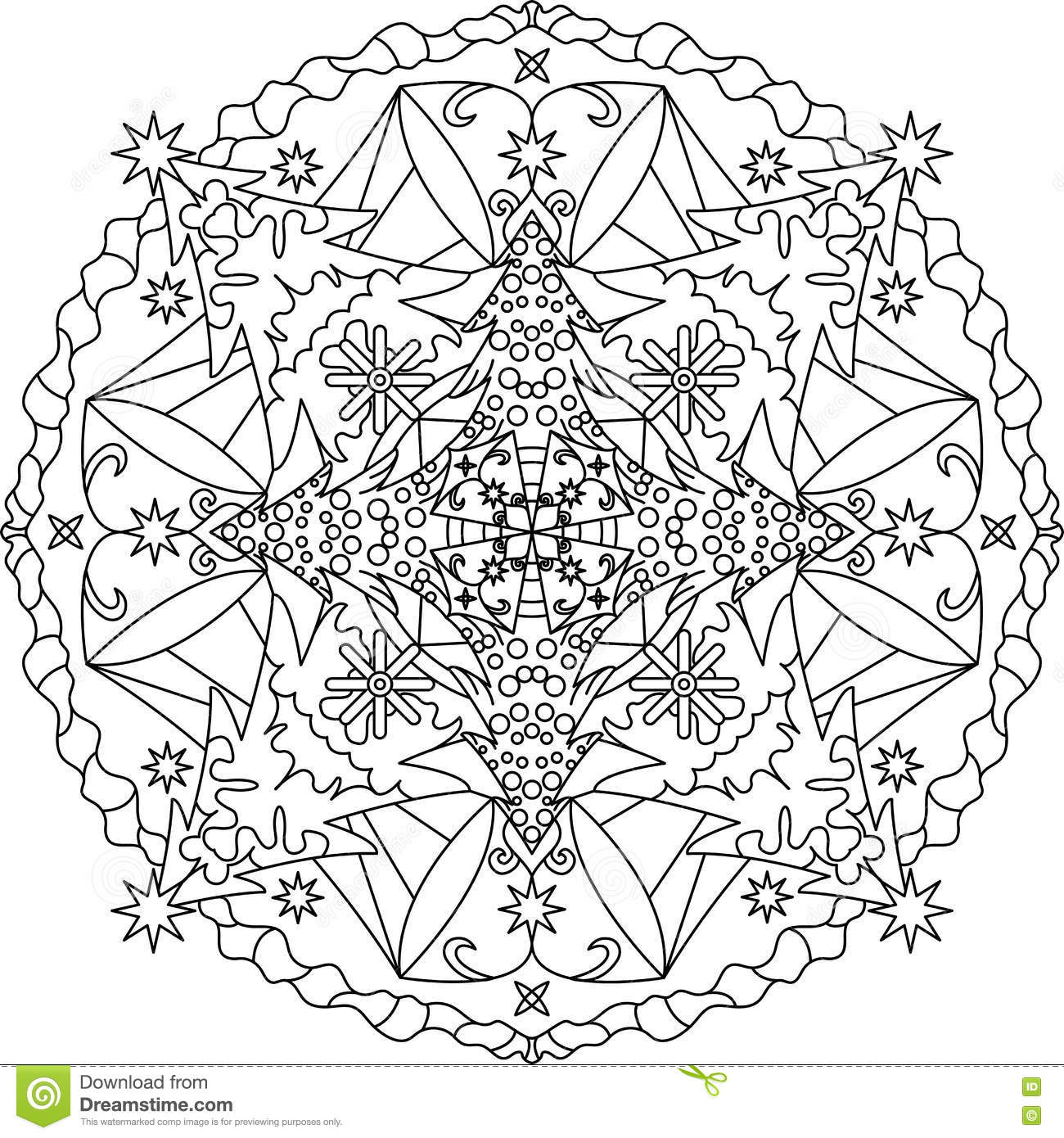 Zentangle Adult Coloring Page Mandala Stock Vector Illustration