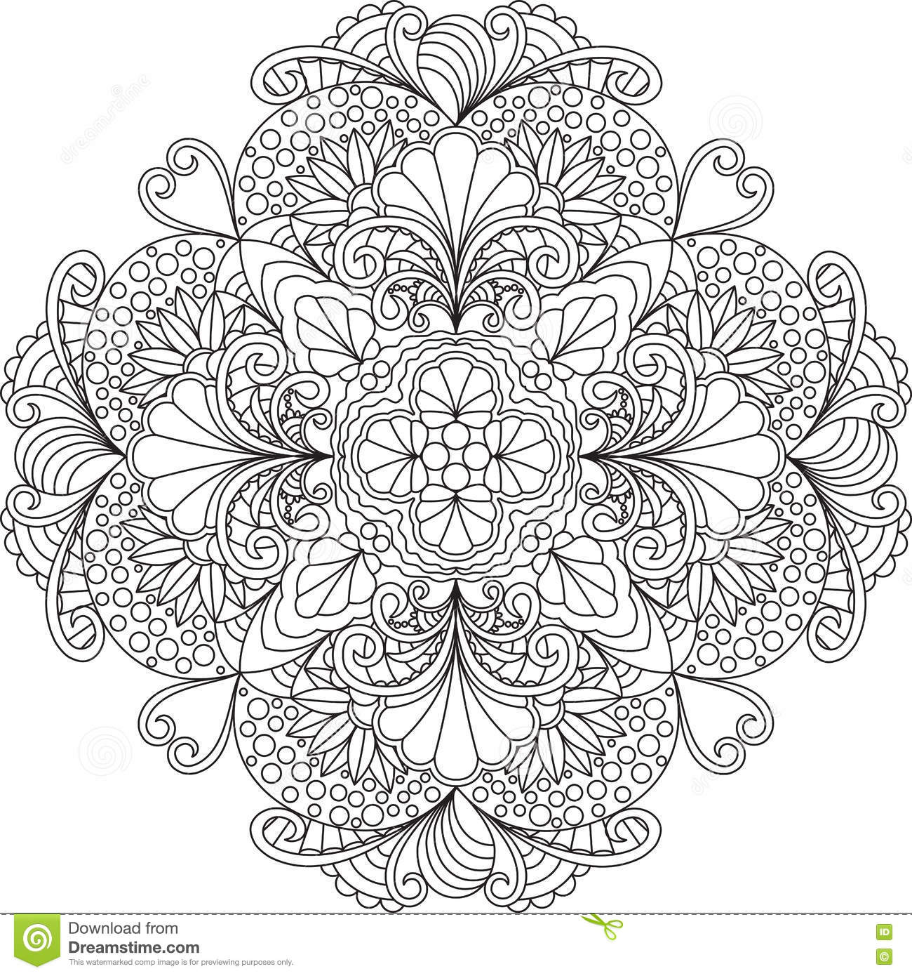 Zentangle Adult Coloring Page Mandala With Flowers Stock Vector