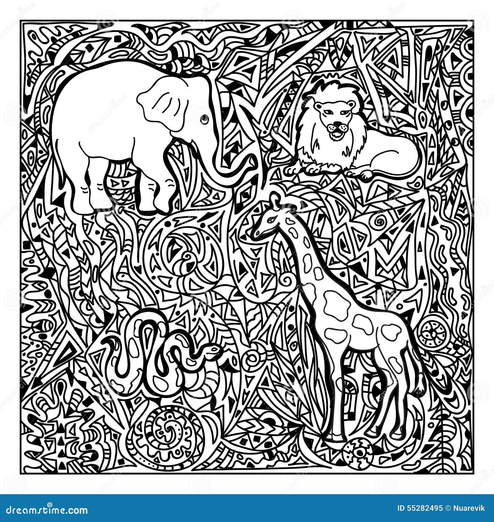 Zentangle Africain D Animaux Illustration Stock Image