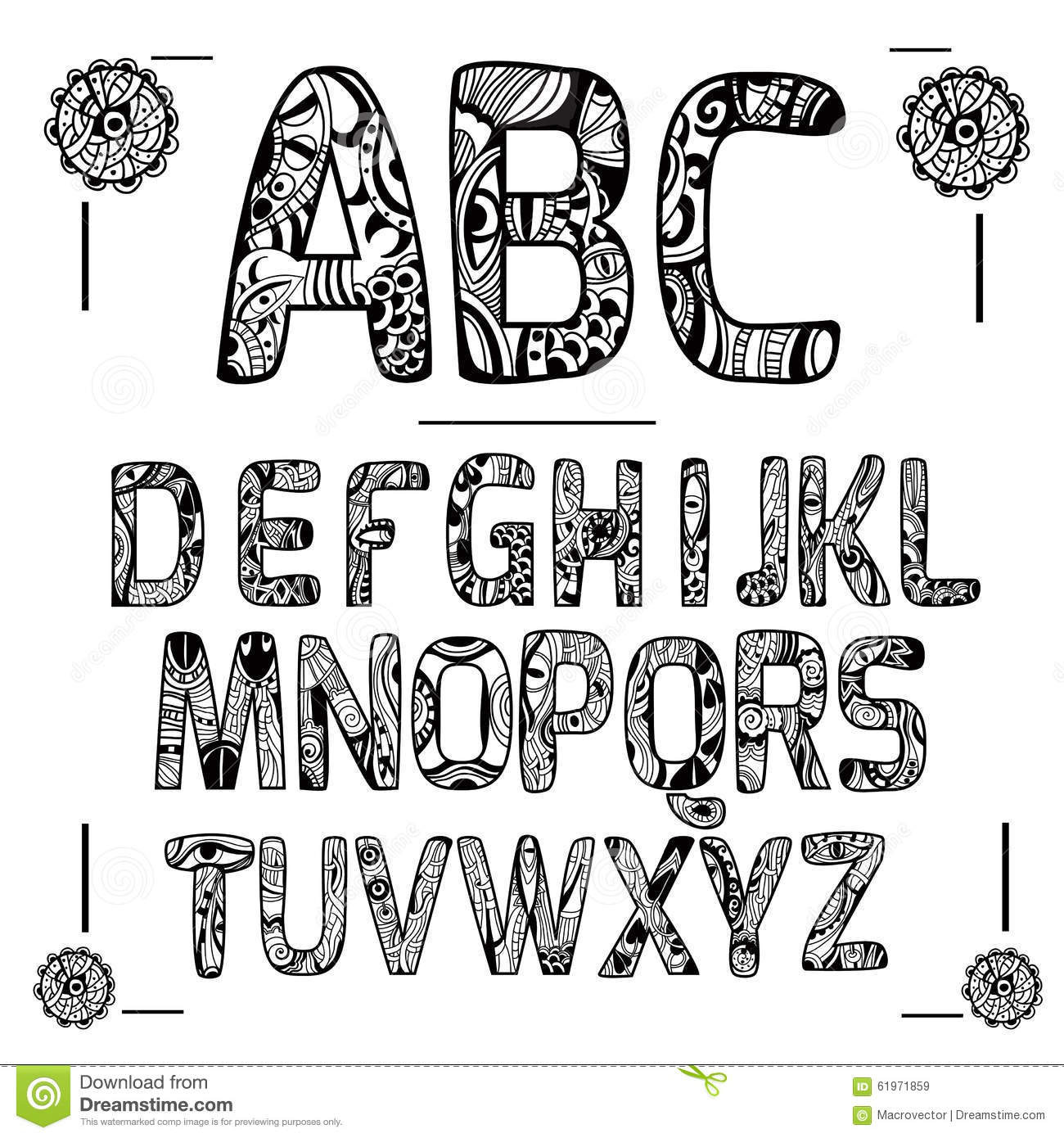 Stock Illustration Zentangle Alphabet Black Capital Letters Decorative Ornament Isolated Vector Illustration Image61971859 on artistic letter e