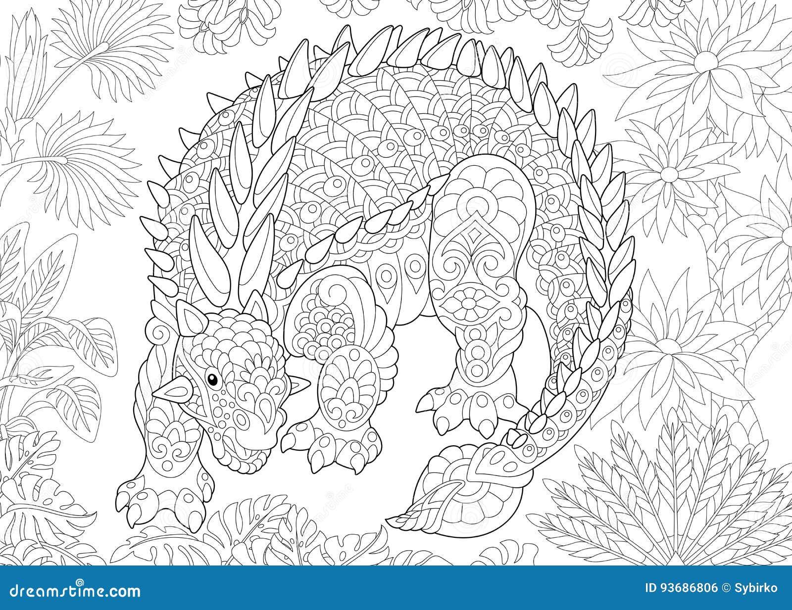 zentangle ankylosaurus dinosaur stock vector image 93686806