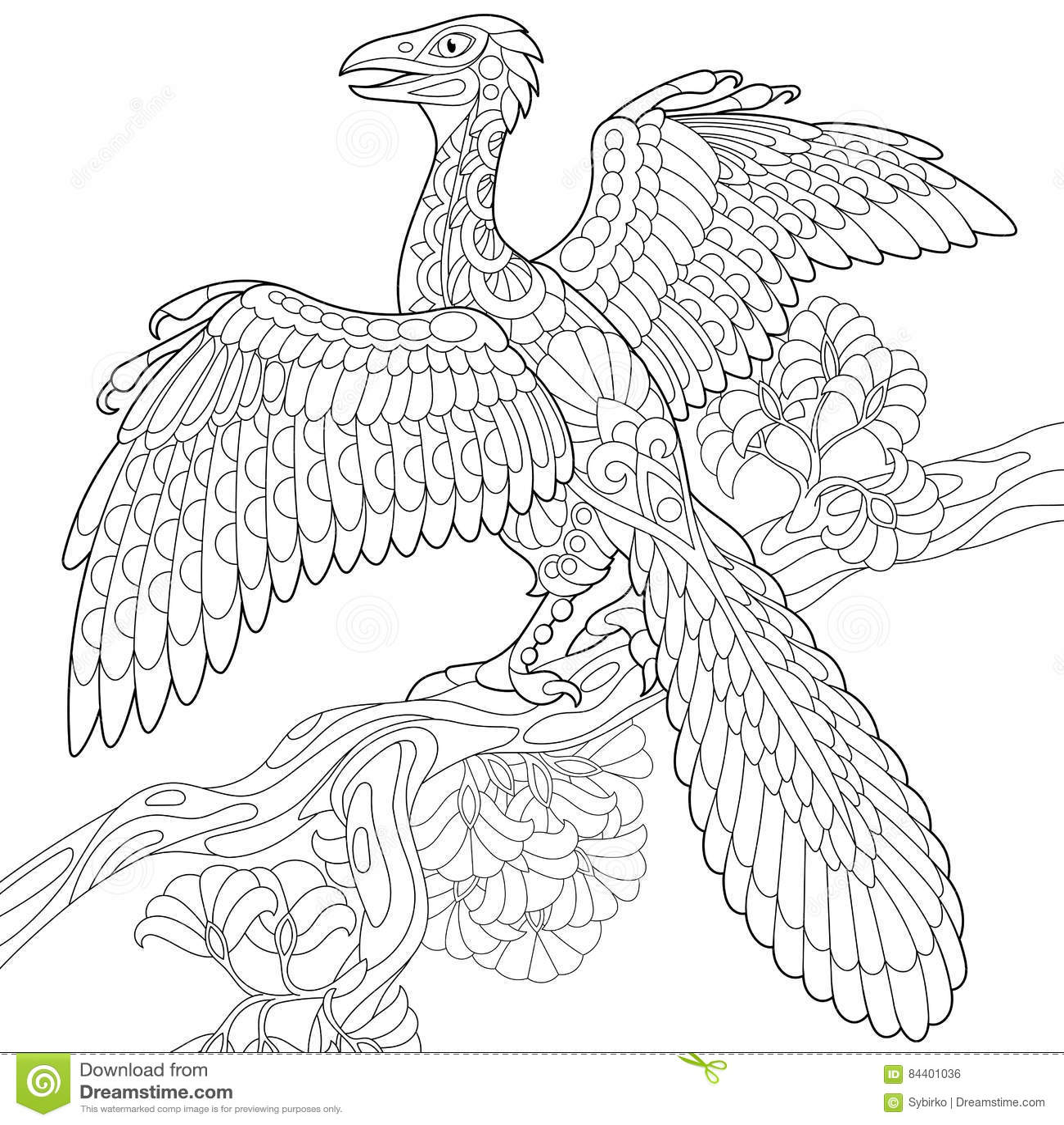 Zentangle Archeopteryx Dinosaur Stock Vector ...