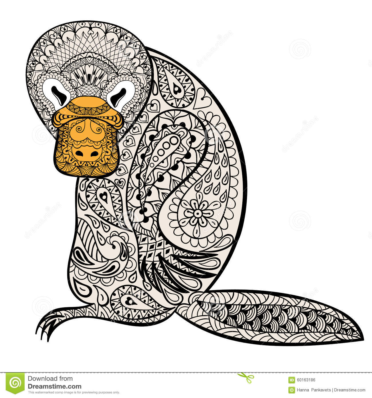 Zentangle Australian Platypus Totem For Adult Anti Stress Stock Vector Image 60163186