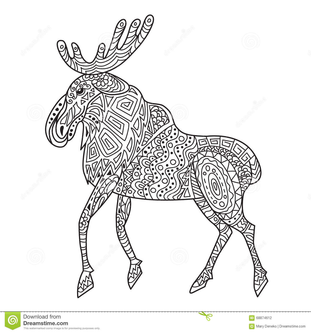 Zentangle The Baikal Elk For Adult Anti Stress Coloring Page Stock ...