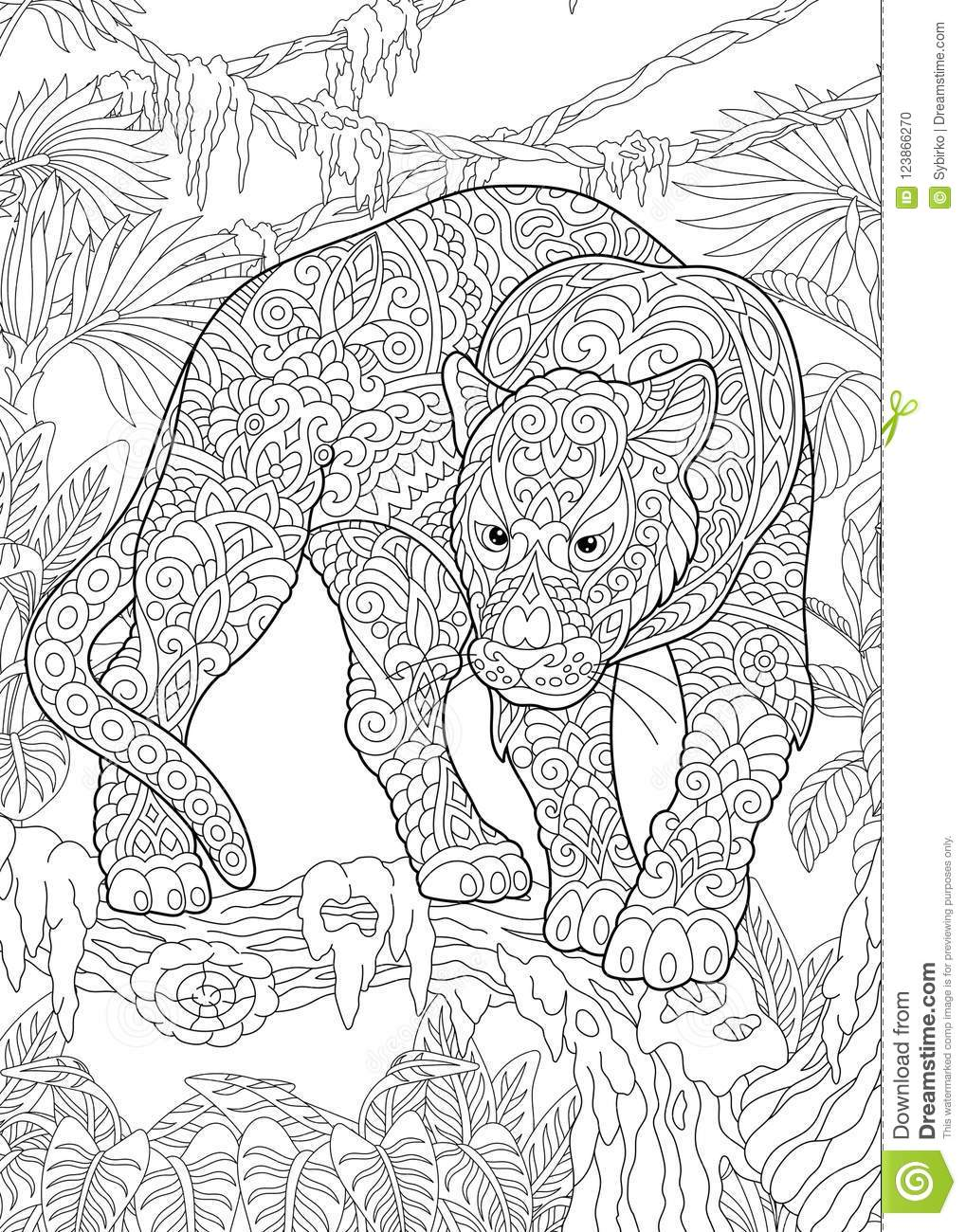 Zentangle black panther stock vector. Illustration of creature ...