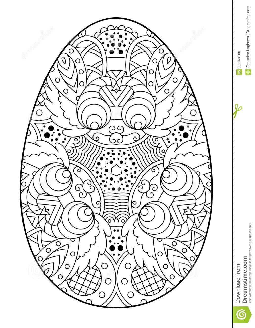 Zentangle Black And White Decorative Easter Egg Stock Vector