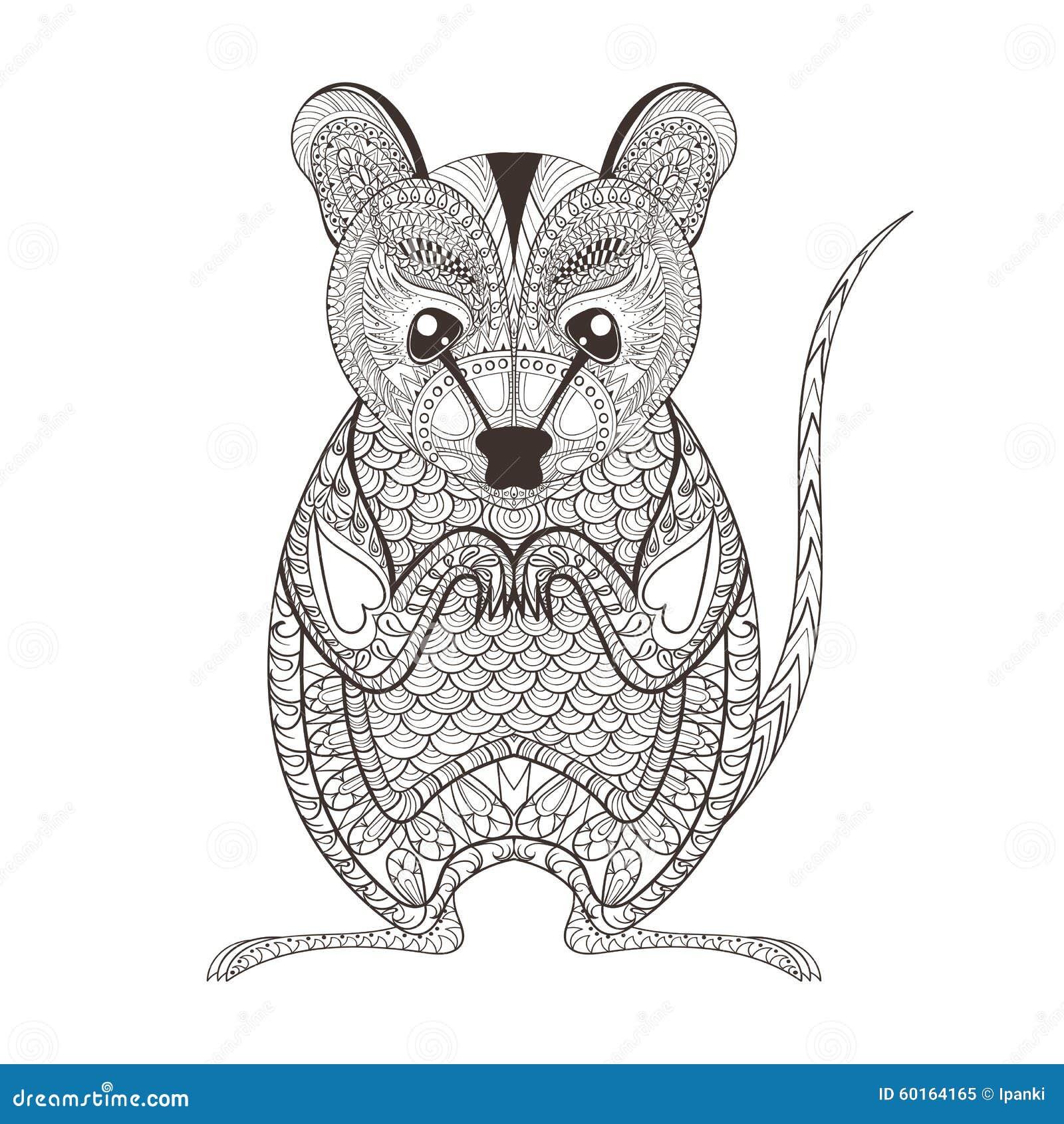 Zentangle Brown Possum Totem For Adult Anti Stress