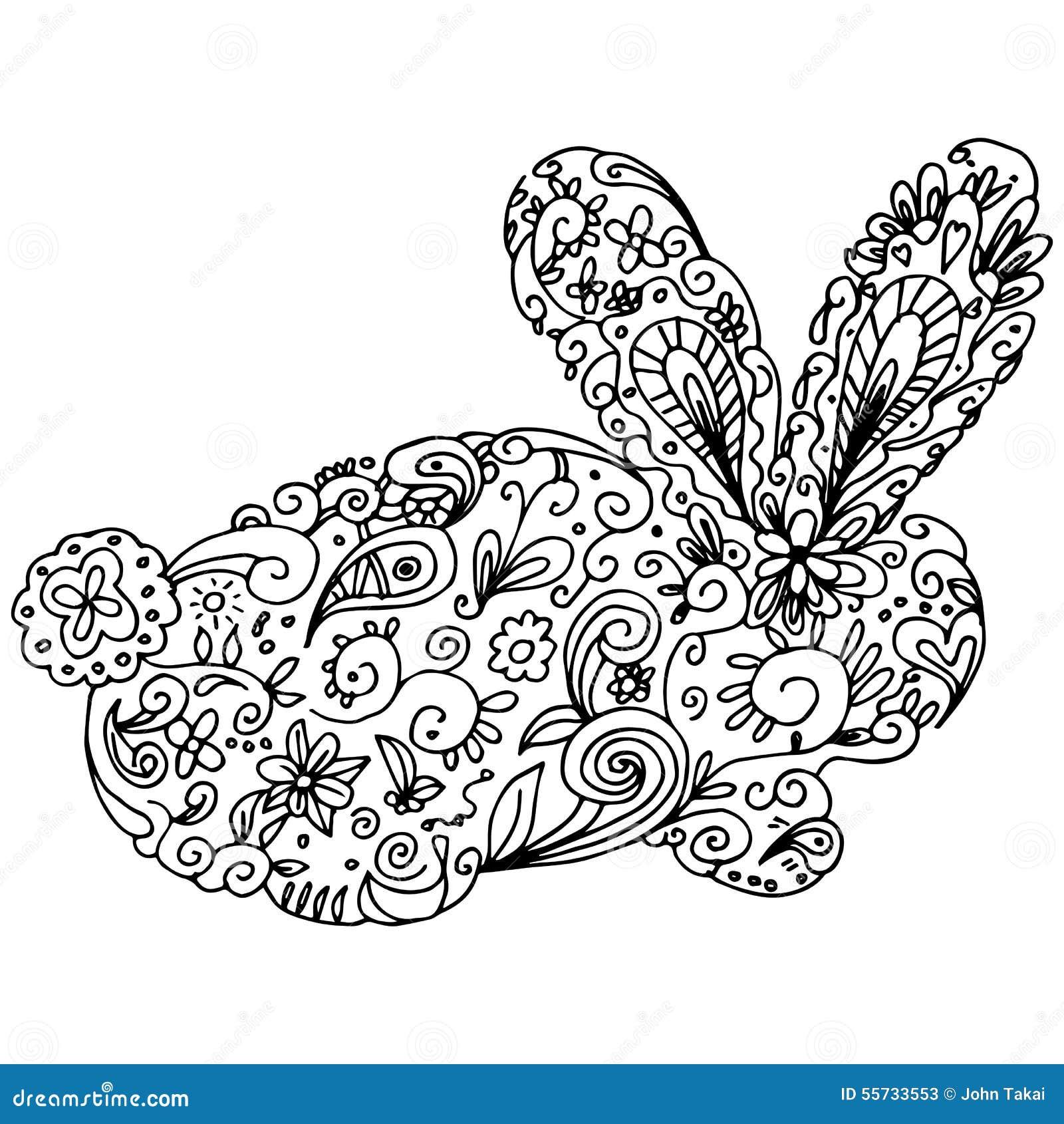 Zentangle Bunny Outline Stock Vector