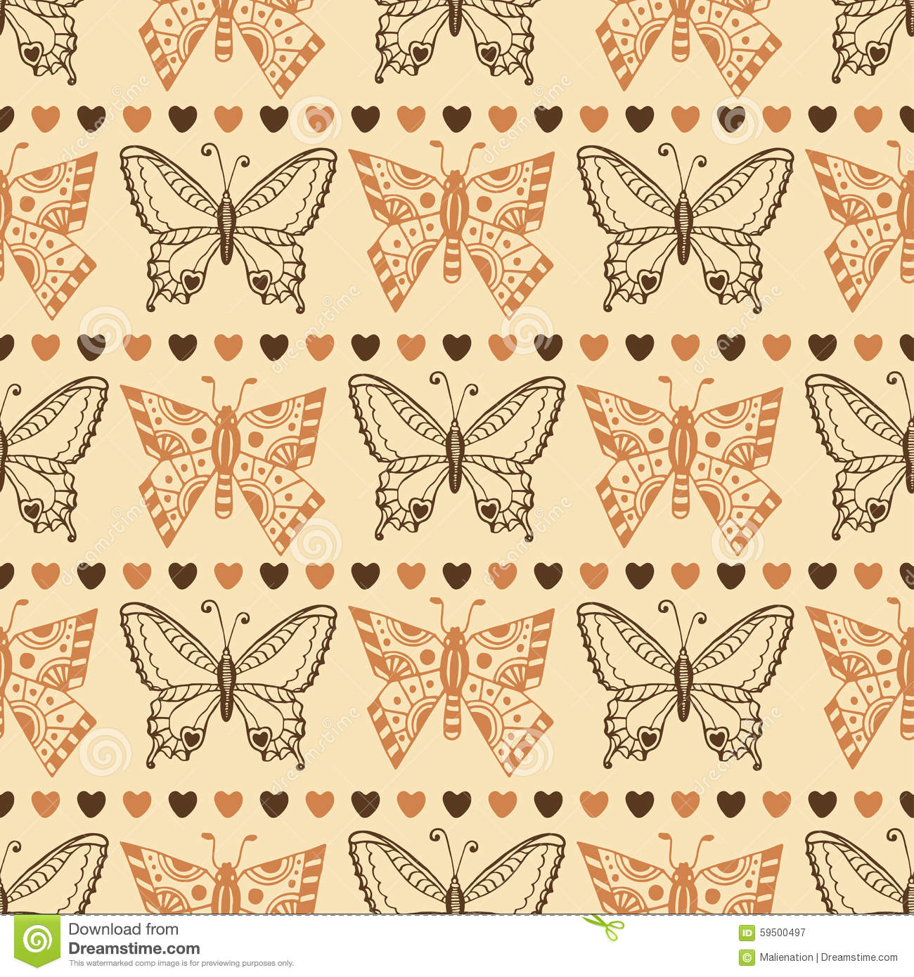 Zentangle Butterfly Pattern. Autumn Seamless Wrapping Paper