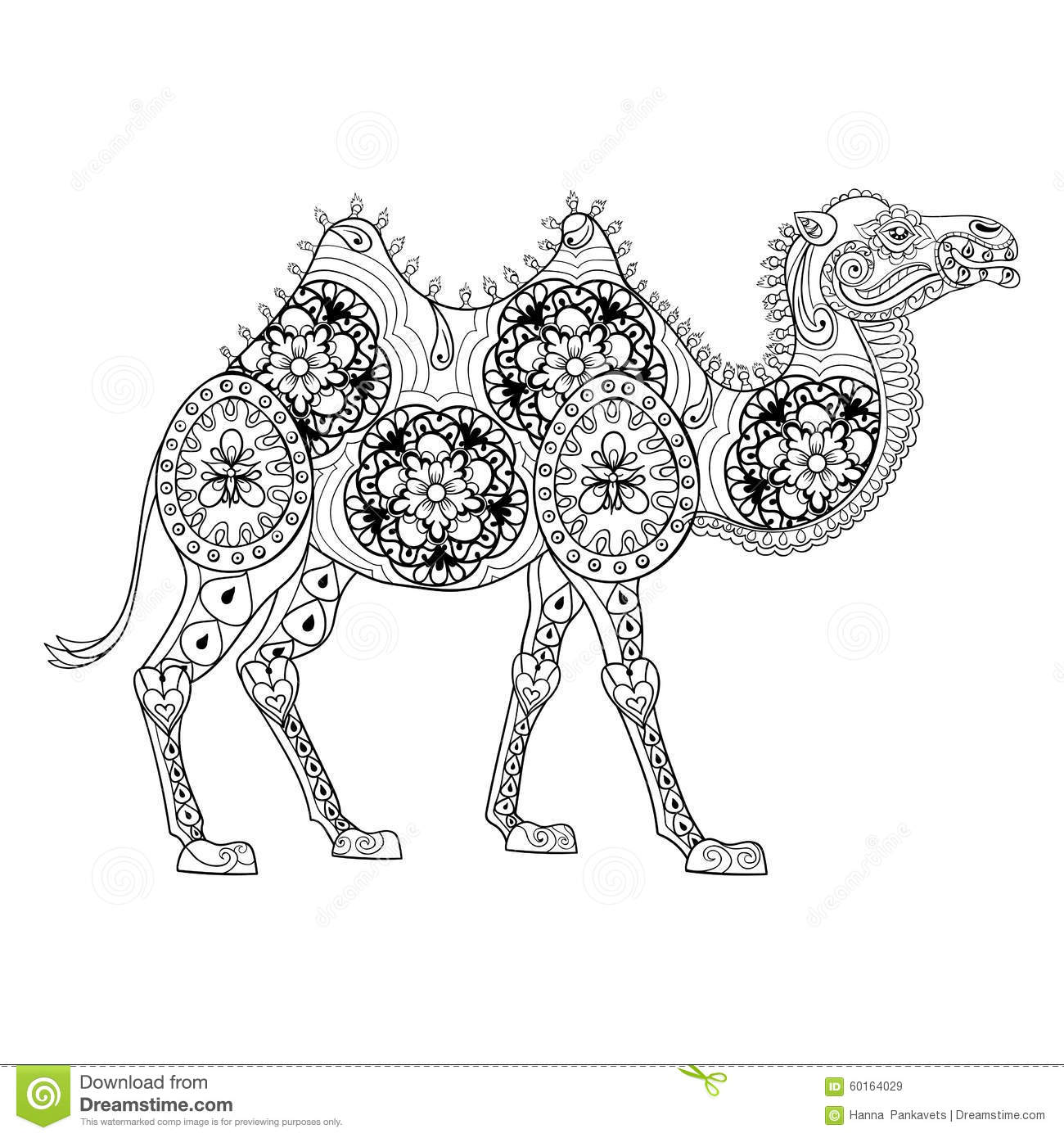 Download Zentangle Camel Totem For Adult Anti Stress Coloring Page Stock Vector