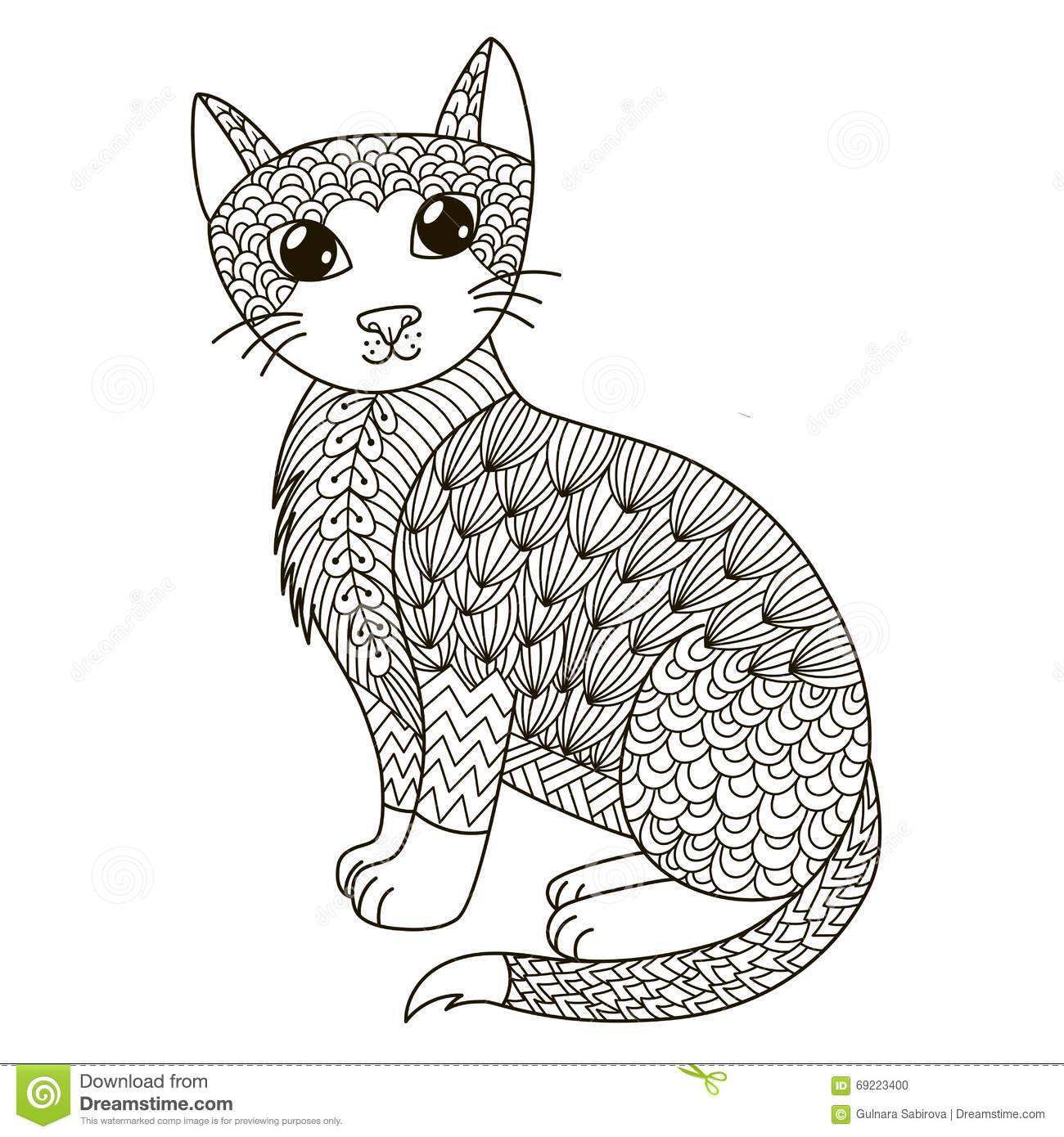 Zentangle Cat For Coloring Page Shirt Design Logo