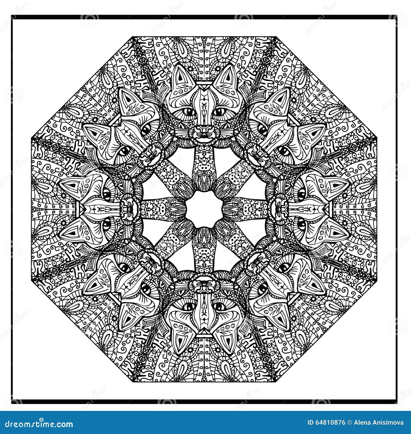 Zentangle Cat Mandala