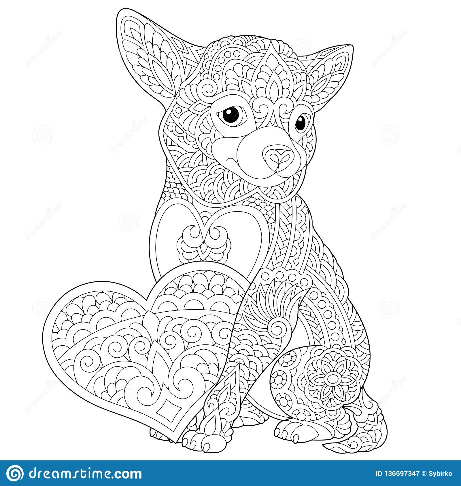 zentangle chihuahua coloring page stock vector