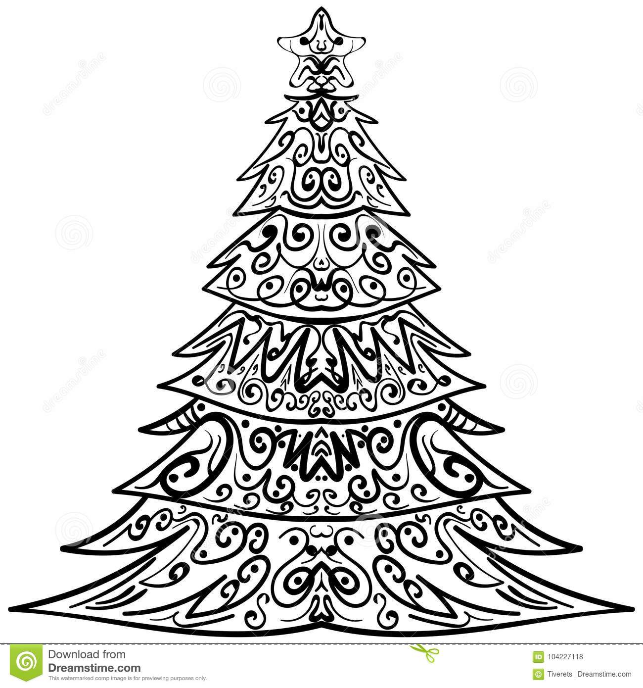 Zentangle Christmas Tree Decorative Doodle Stock Vector ...