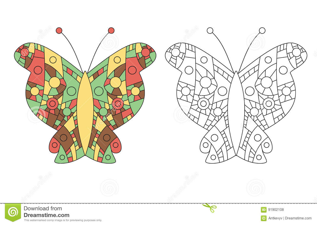 zentangle coloring book butterfly vector page adult anti stress drawing colored outlined templates illustration
