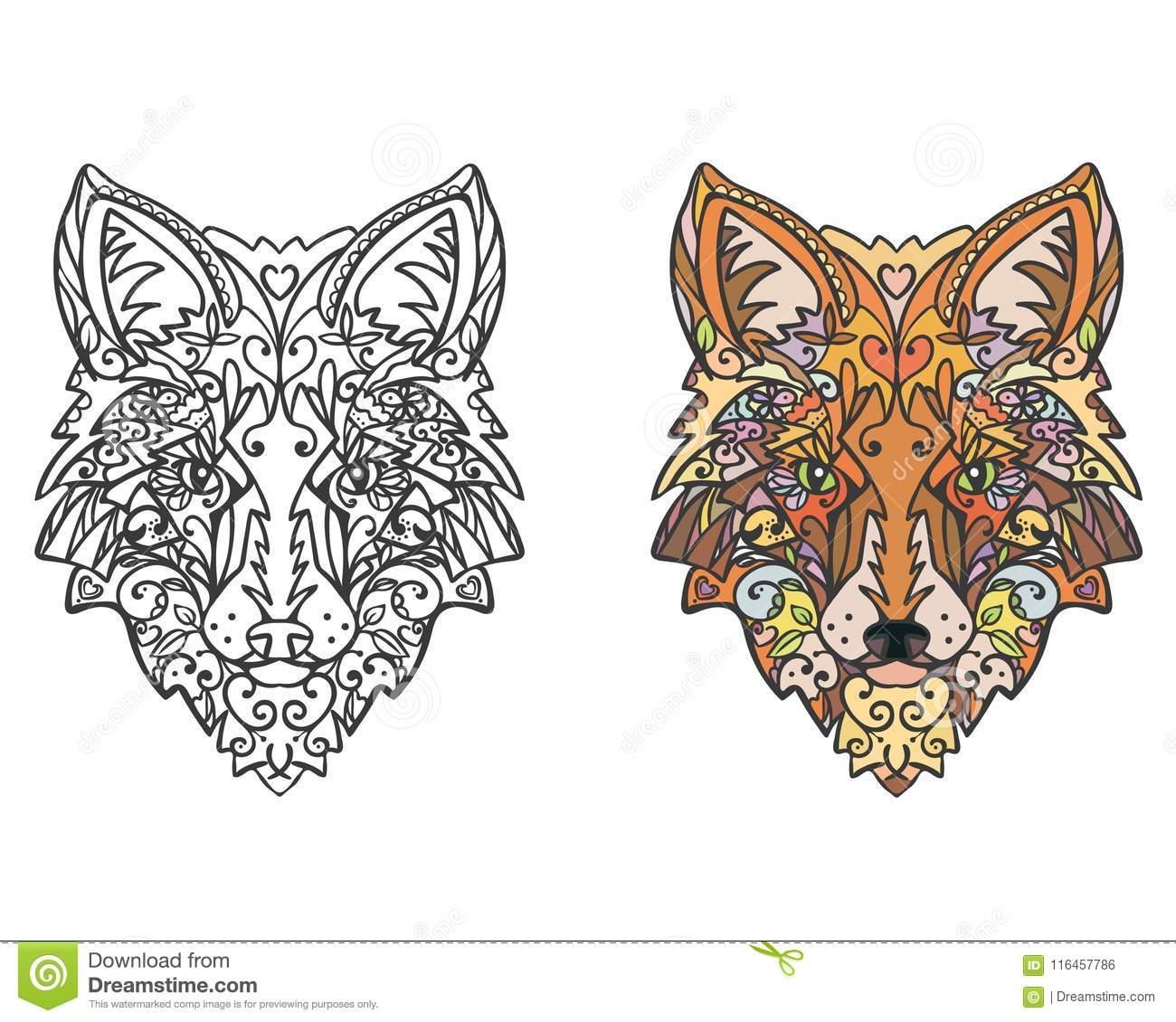 Zentangle animal coloring vector picture for coloring page antistress drawing