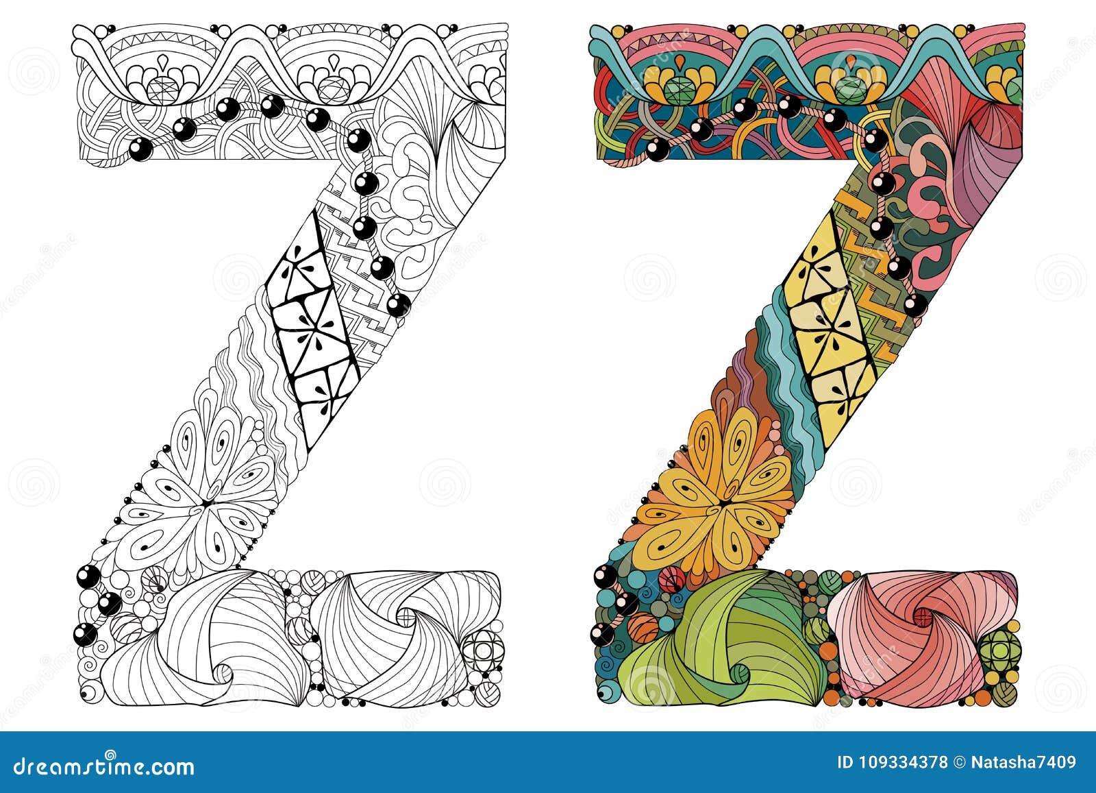 Zentangle Da Letra Z Para Colorir Objeto Decorativo Do Vetor
