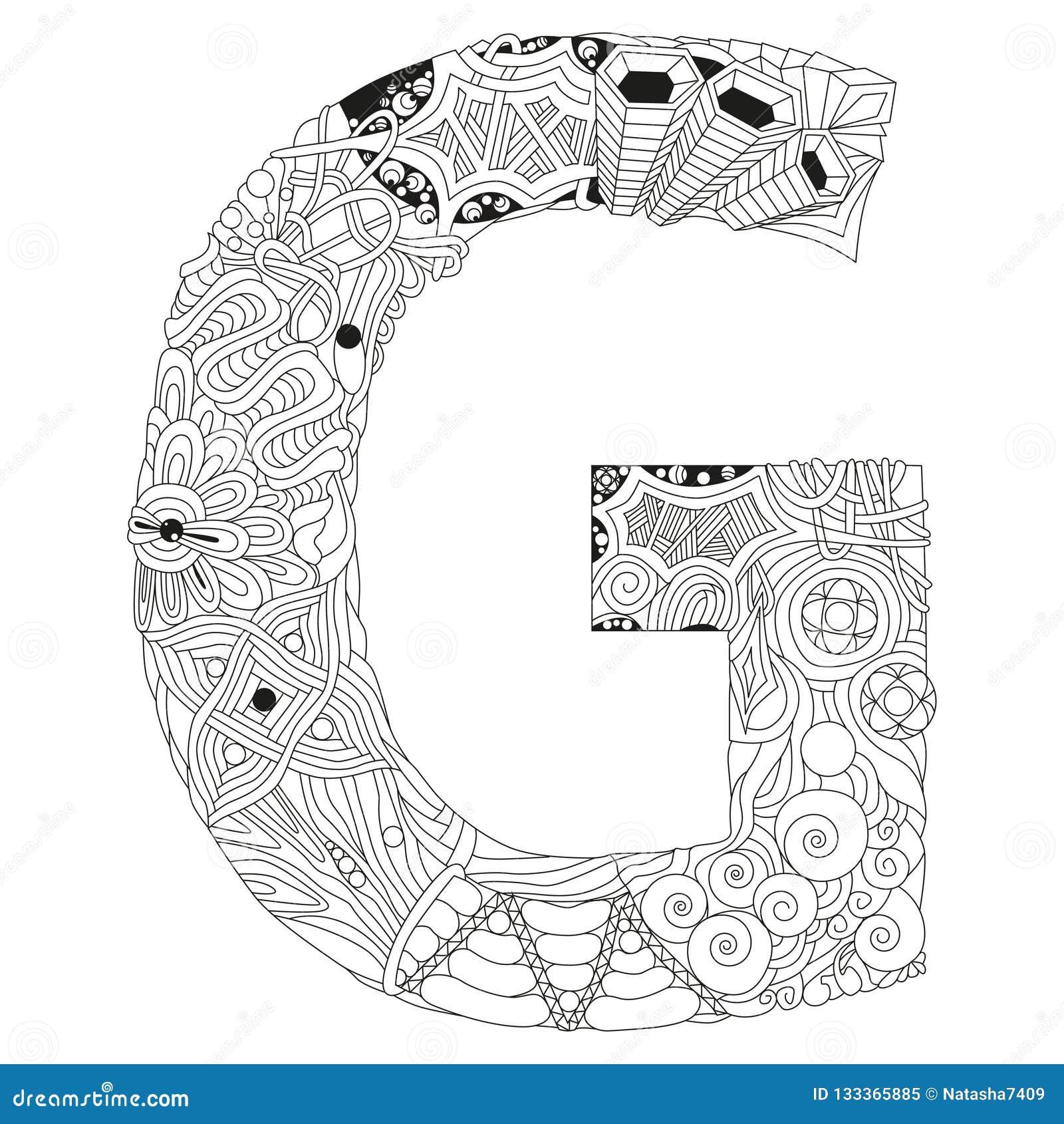 Zentangle De G De La Letra Objeto Decorativo Del Vector Para