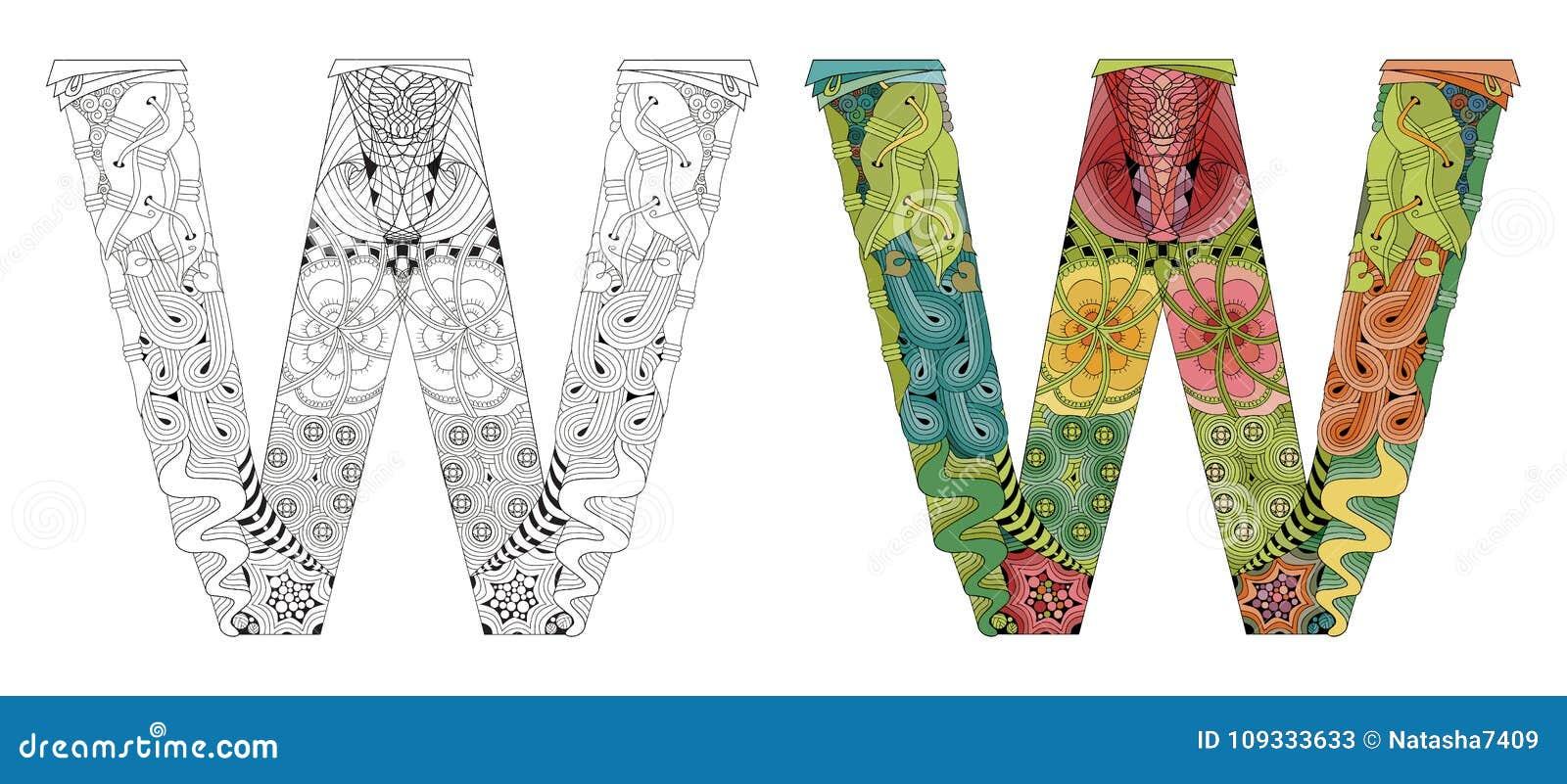 Zentangle De La Letra W Para Colorear Objeto Decorativo Del Vector