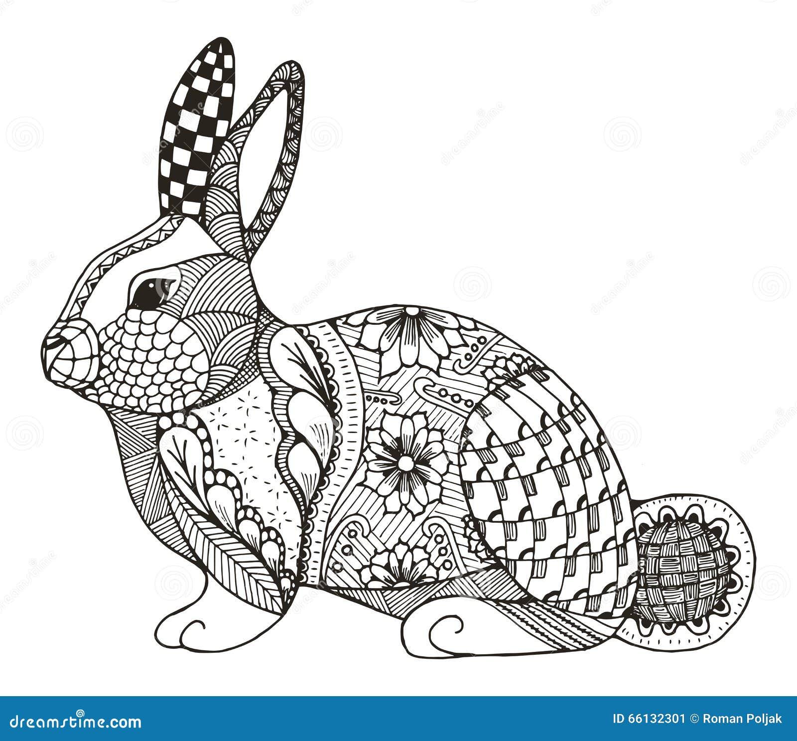 Zentangle de lapin stylis illustration de vecteur image for Lepre immagini da stampare