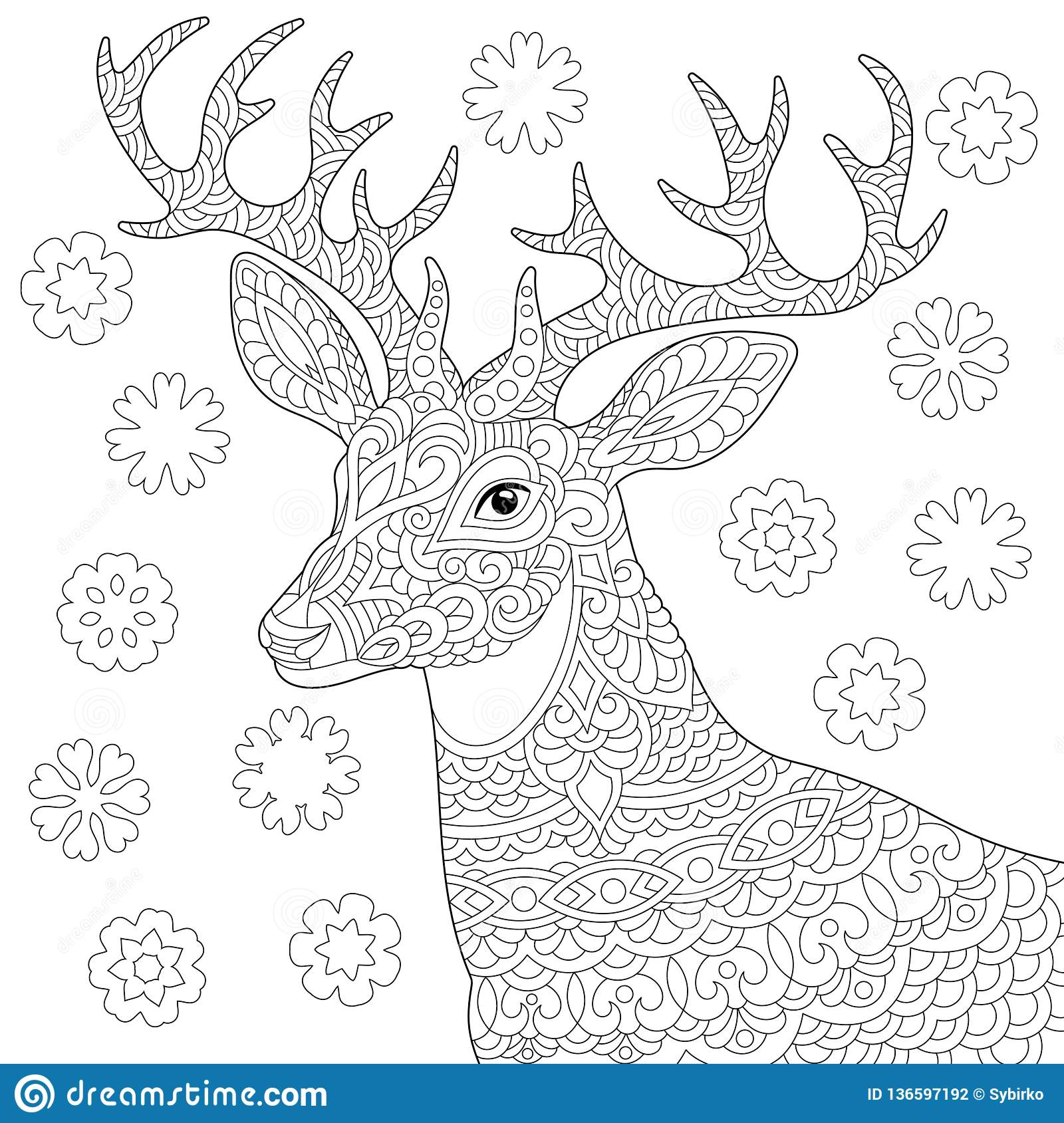 Zentangle Deer Reindeer Coloring Page Stock Vector ...