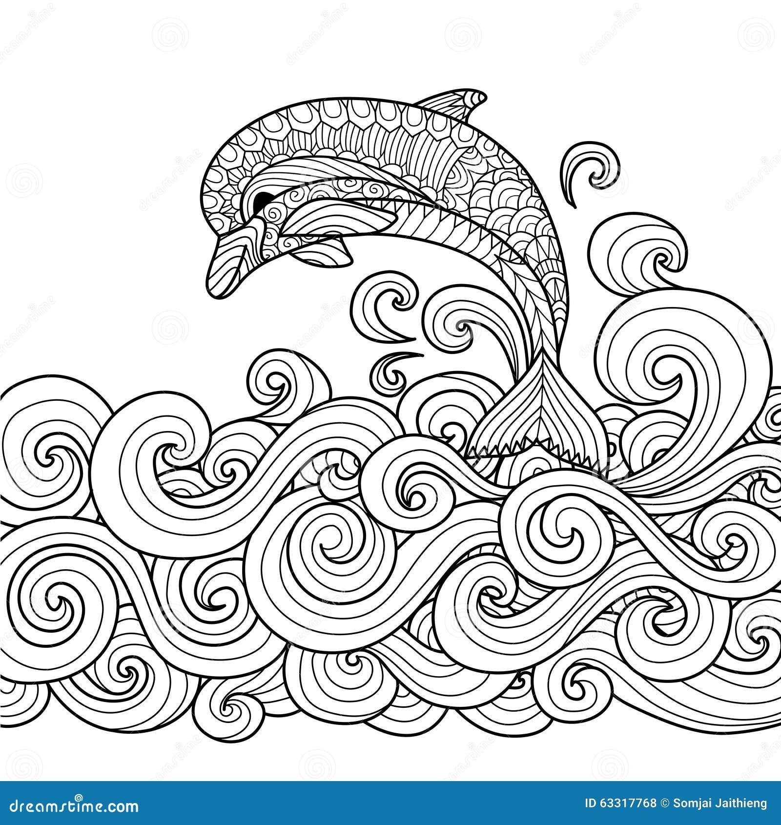 Zentangle Del Delfino Illustrazione Vettoriale Illustrazione Di