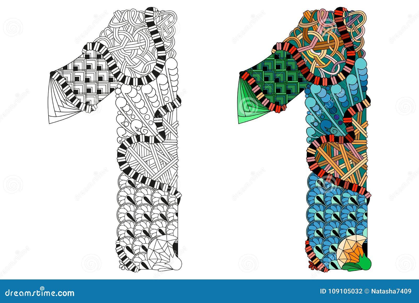 Zentangle Del Número Uno Para Colorear Objeto Decorativo Del