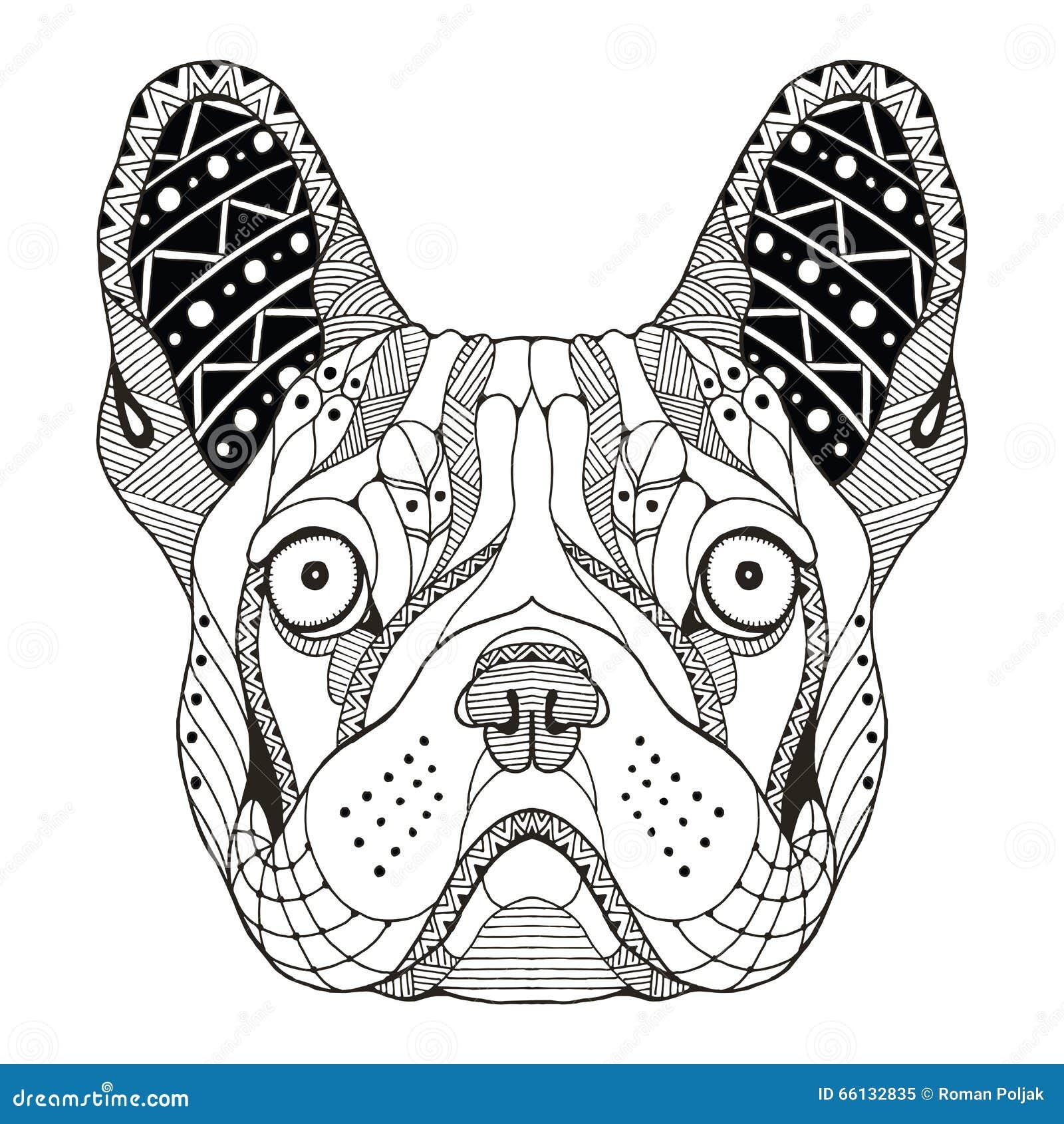 Zentangle Della Testa Del Bulldog Francese Stilizzato Illustrazione