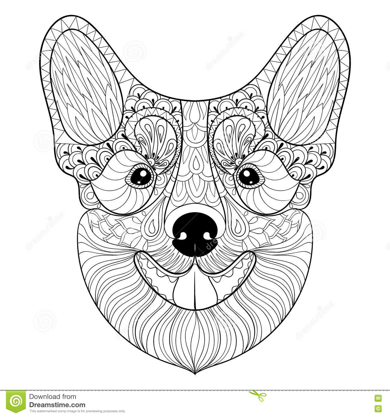 Vector Zentangle Dog Print For Adult Coloring Page Hand