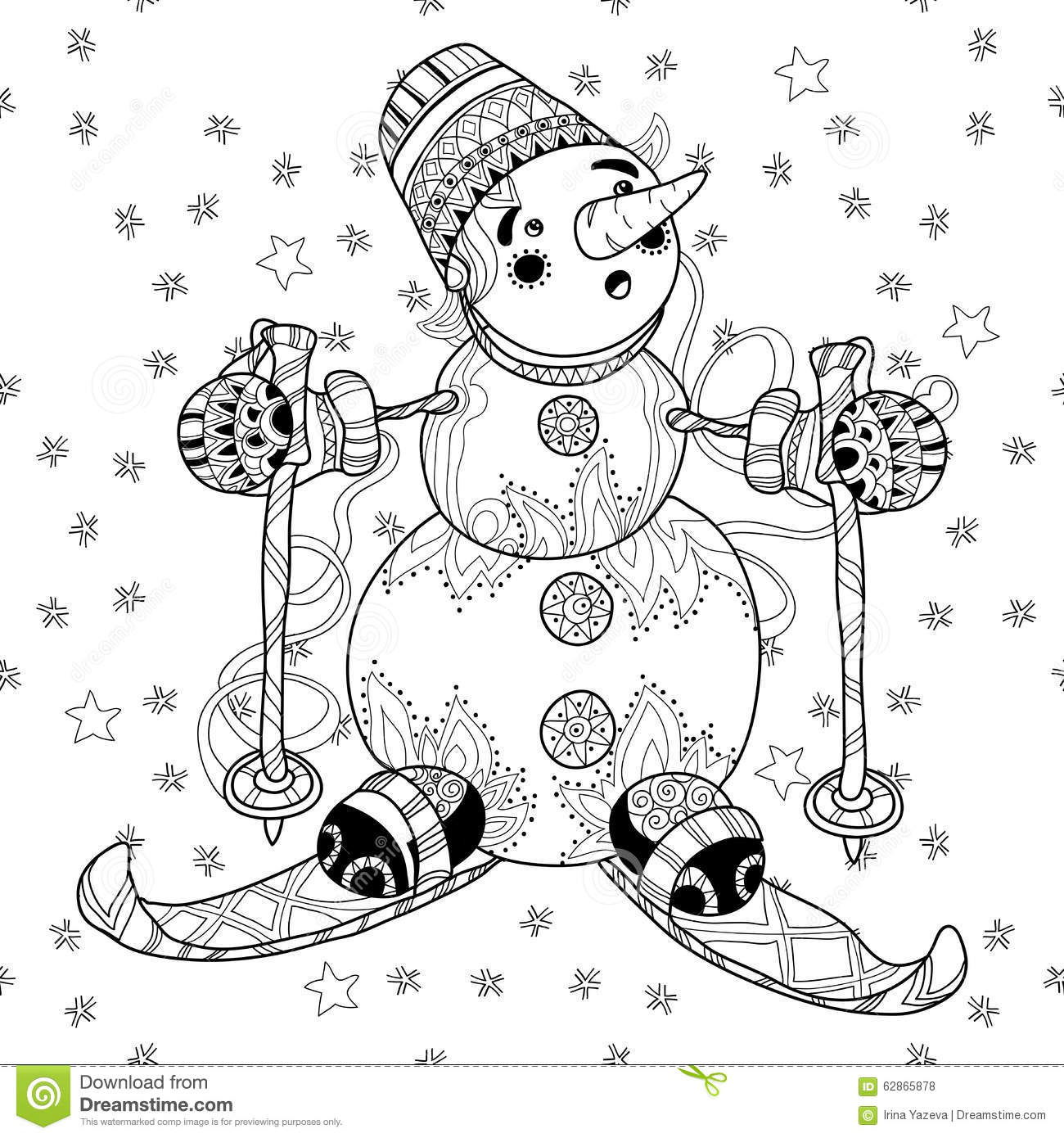 Zentangle Doodle Hand Drawn Christmas Snowman Ski  Stock