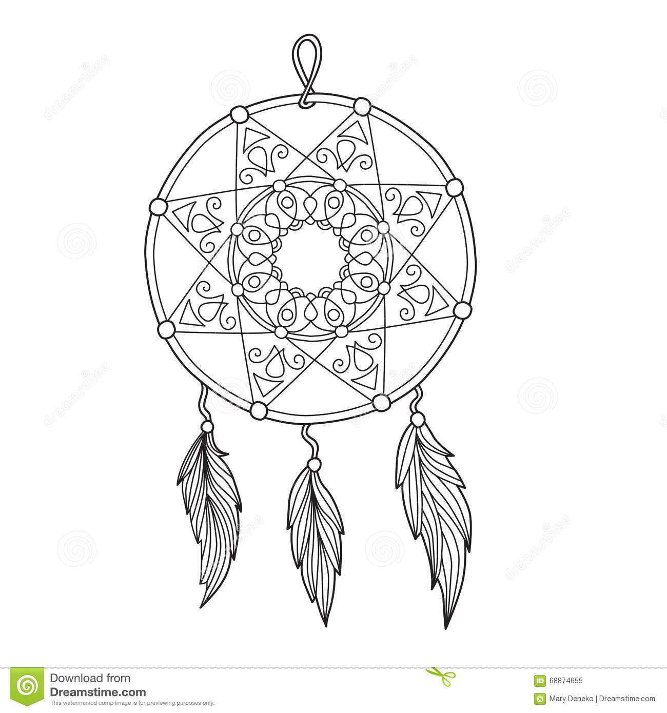 Zentangle Dreamcatcher With Feathers Stock Vector Image