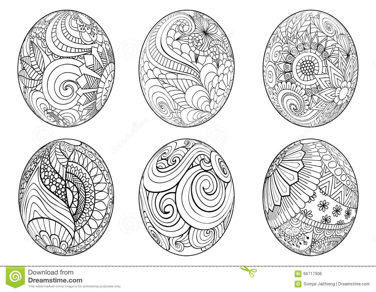 Zentangle Easter Eggs For Coloring Book For Adult Stock Vector ...