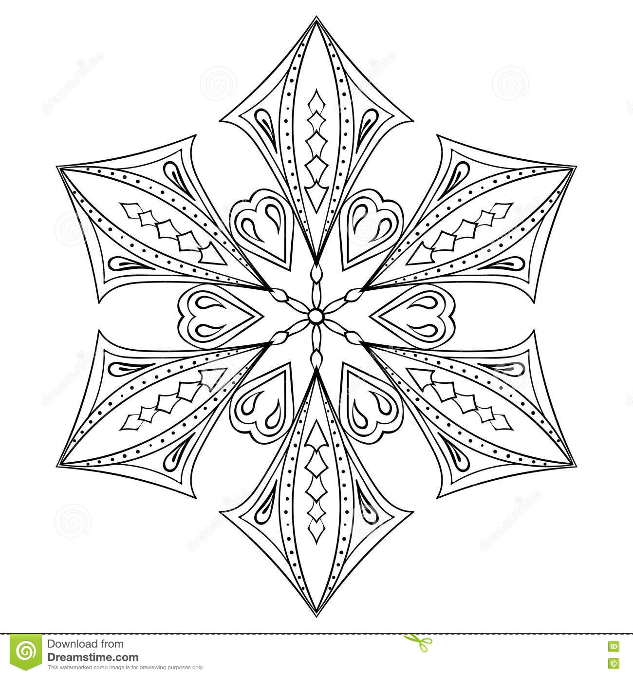 Zentangle Elegant Snow Flake For Adult Coloring Pages. Vector Or ...