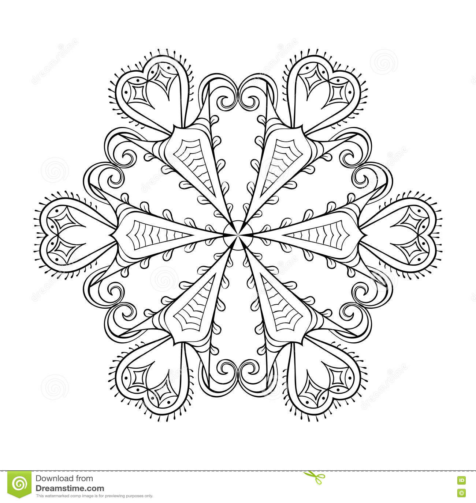 Zentangle Elegant Snow Flake. Vector Winter Illustration For Dec ...