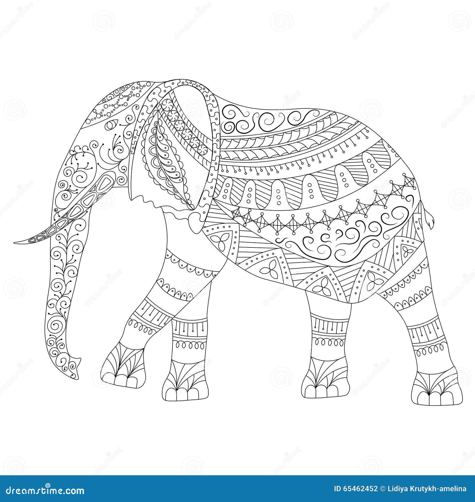 zentangle elephant doodle on white background stock vector illustration of black mosaic 65462452. Black Bedroom Furniture Sets. Home Design Ideas