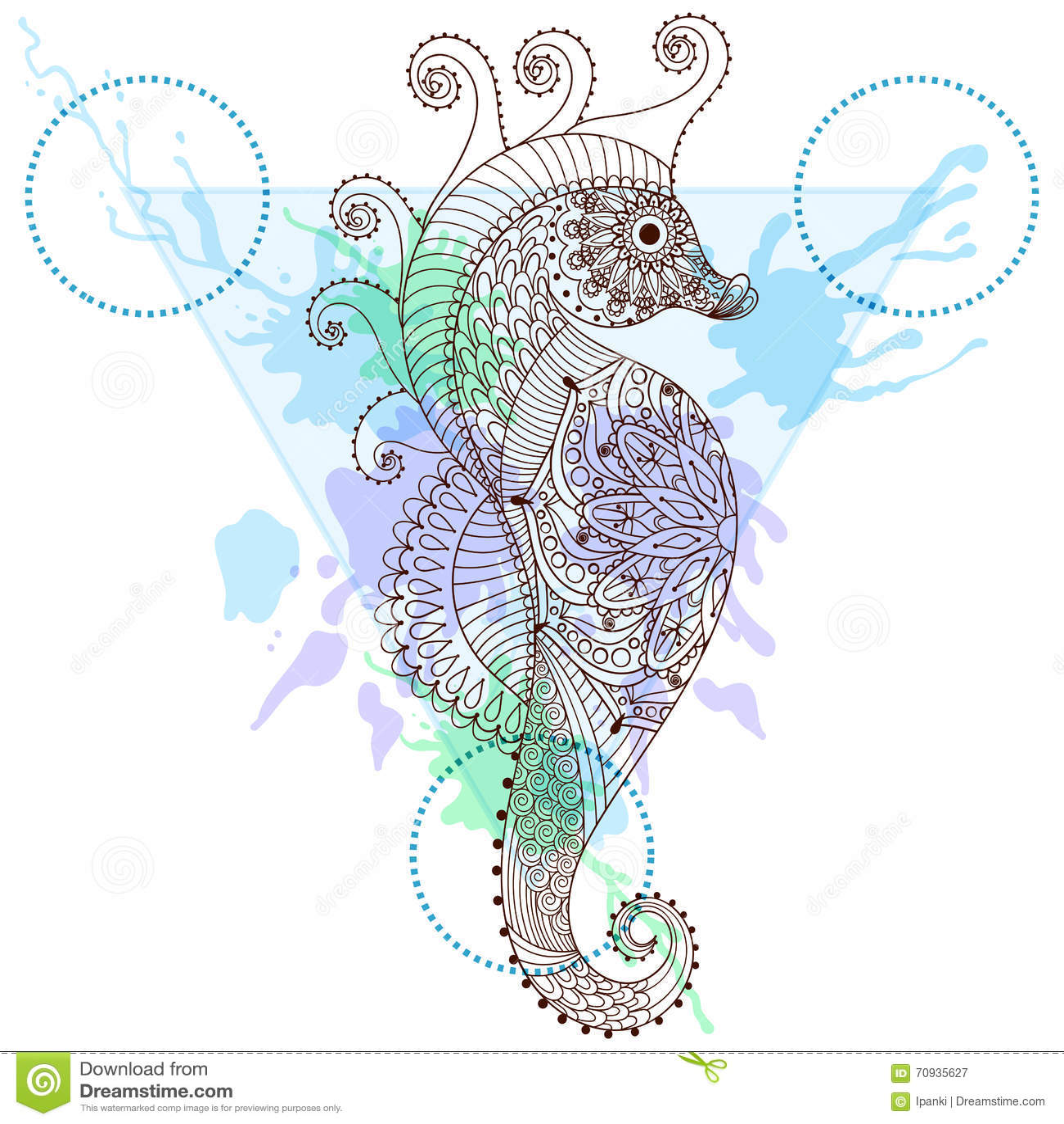 Zentangle estiliz el caballo de mar en marco del tringulo con la zentangle estiliz el caballo de mar en marco del tringulo con la acuarela i gumiabroncs Images