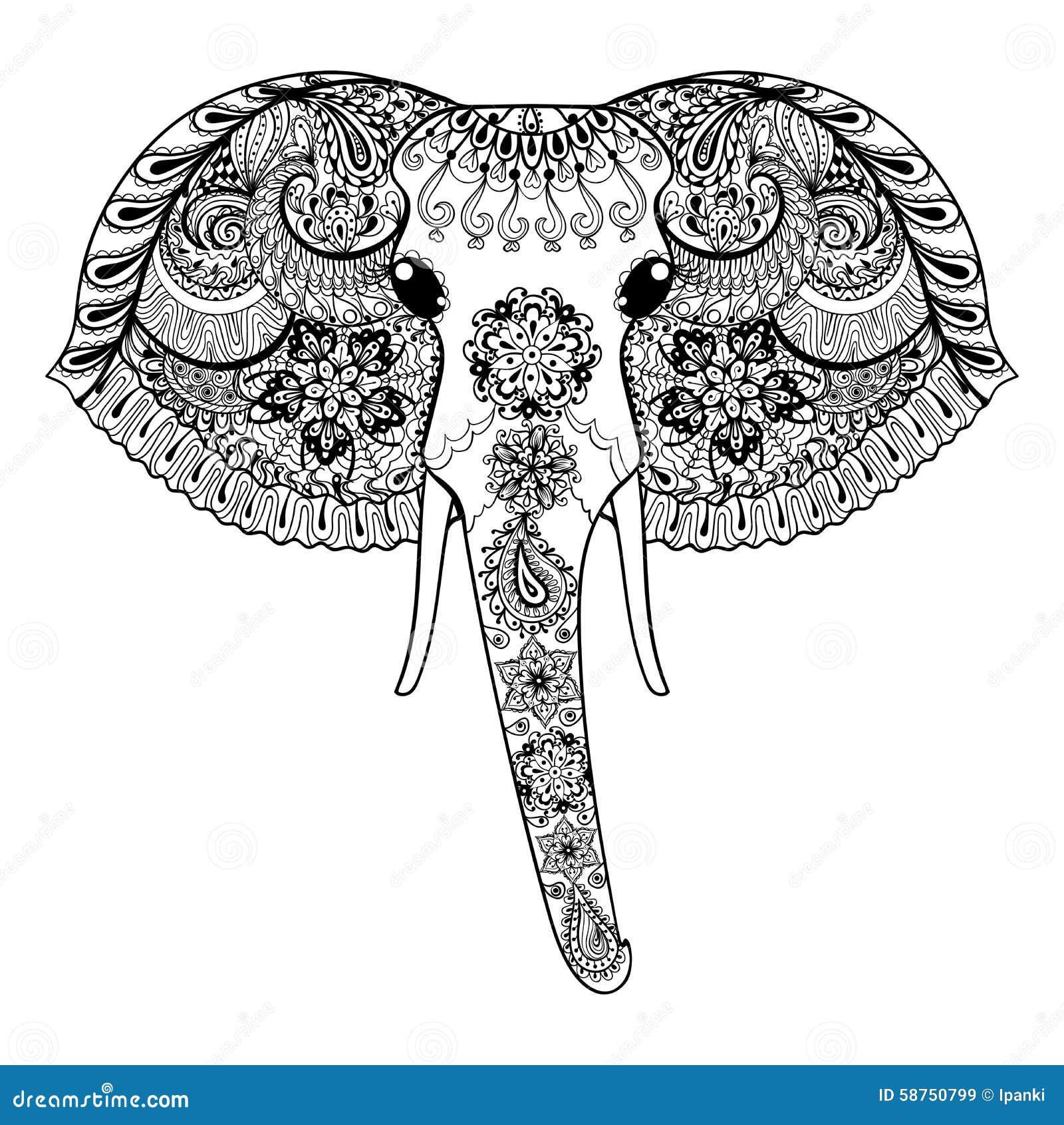 Zentangle Estilizó El Elefante Indio Vector Dibujado Mano IL De ...