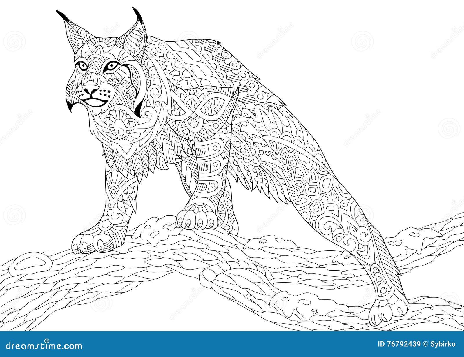 Zentangle Estilizó El Gato Montés Ilustración Del Vector
